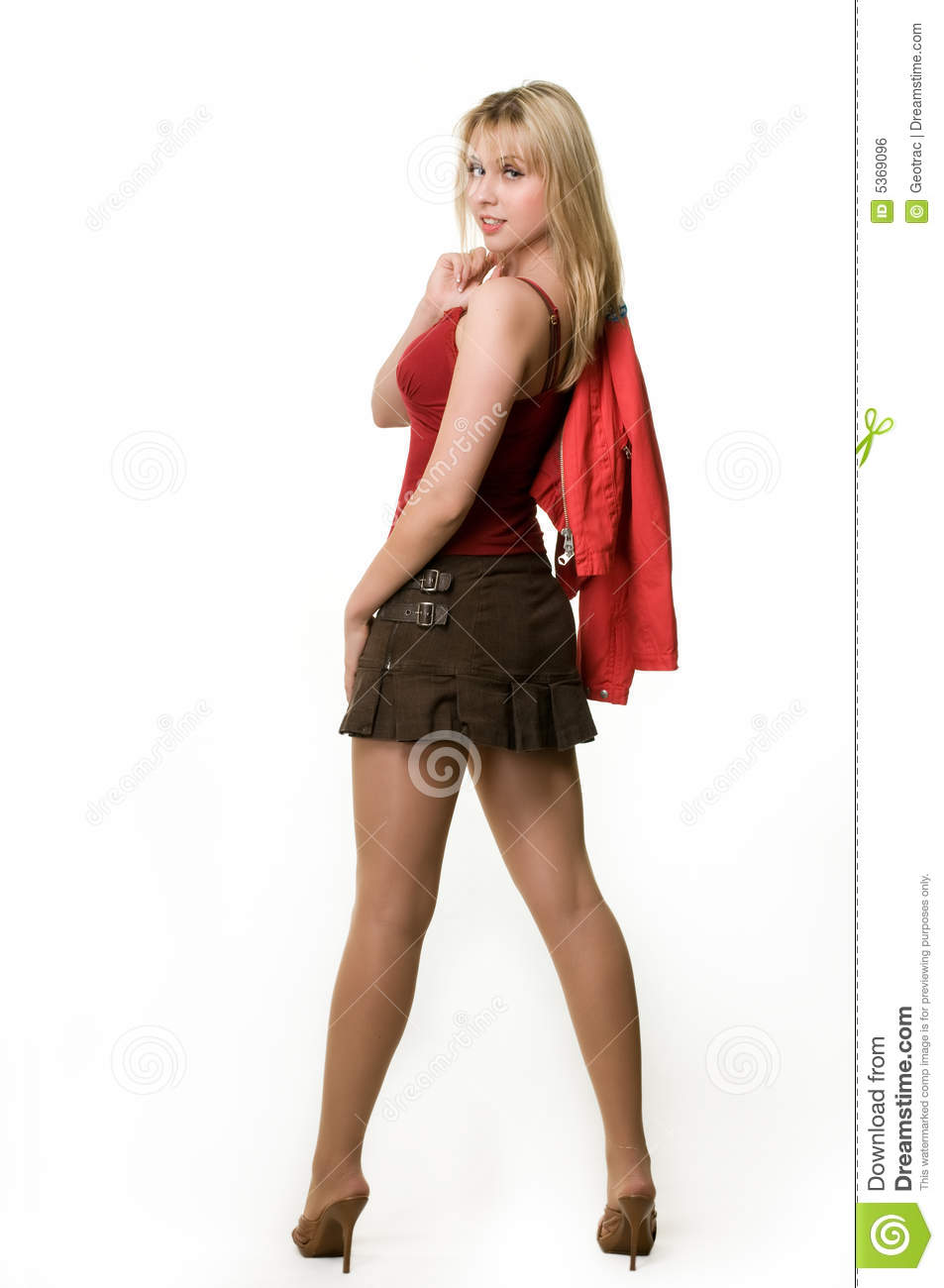 Unique Young Brunette Woman Wearing A Short Skirt Stock Image  Image