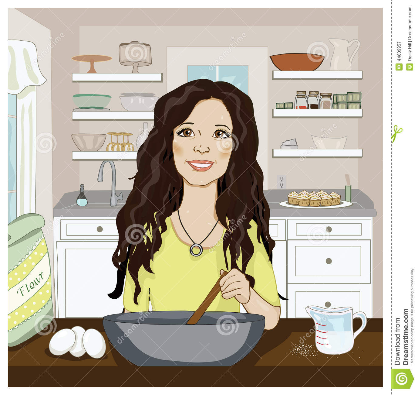 Woman mixing in the kitchen
