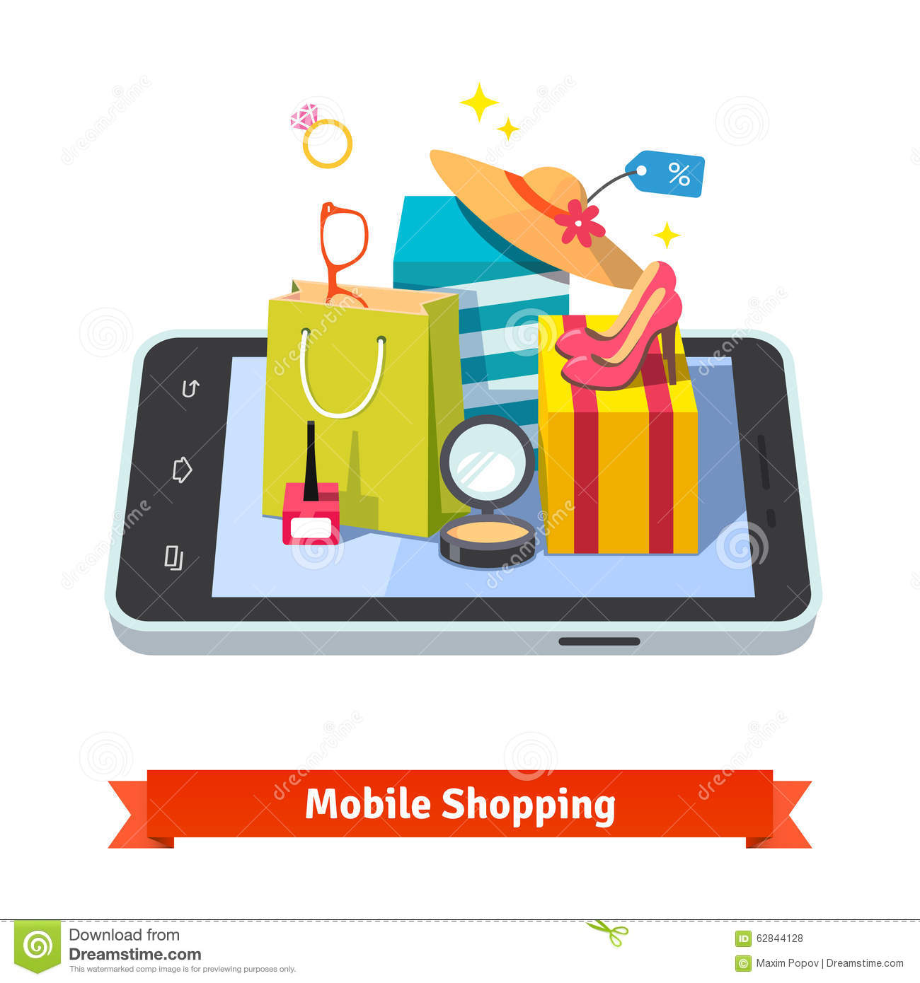 Woman mobile online shopping stock vector image 62844128 for Shopping online mobili