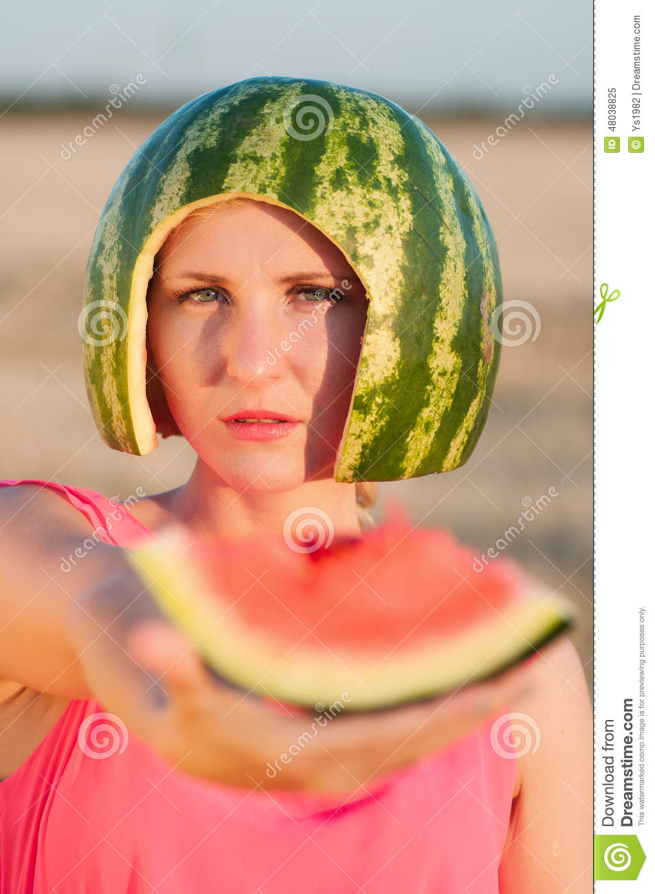 Woman Model With Water-melon On Head Stock Photo - Image: 48038757