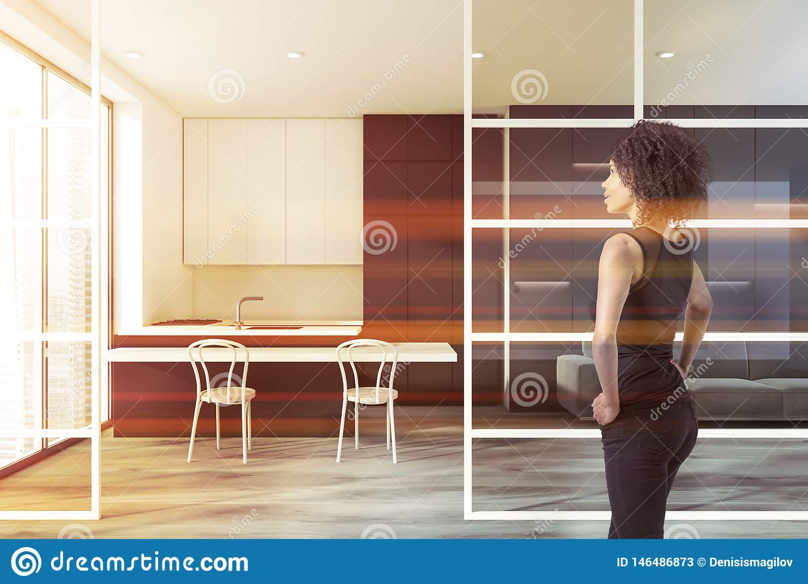 Pleasant Woman In Modern Kitchen With Sofa Stock Illustration Machost Co Dining Chair Design Ideas Machostcouk