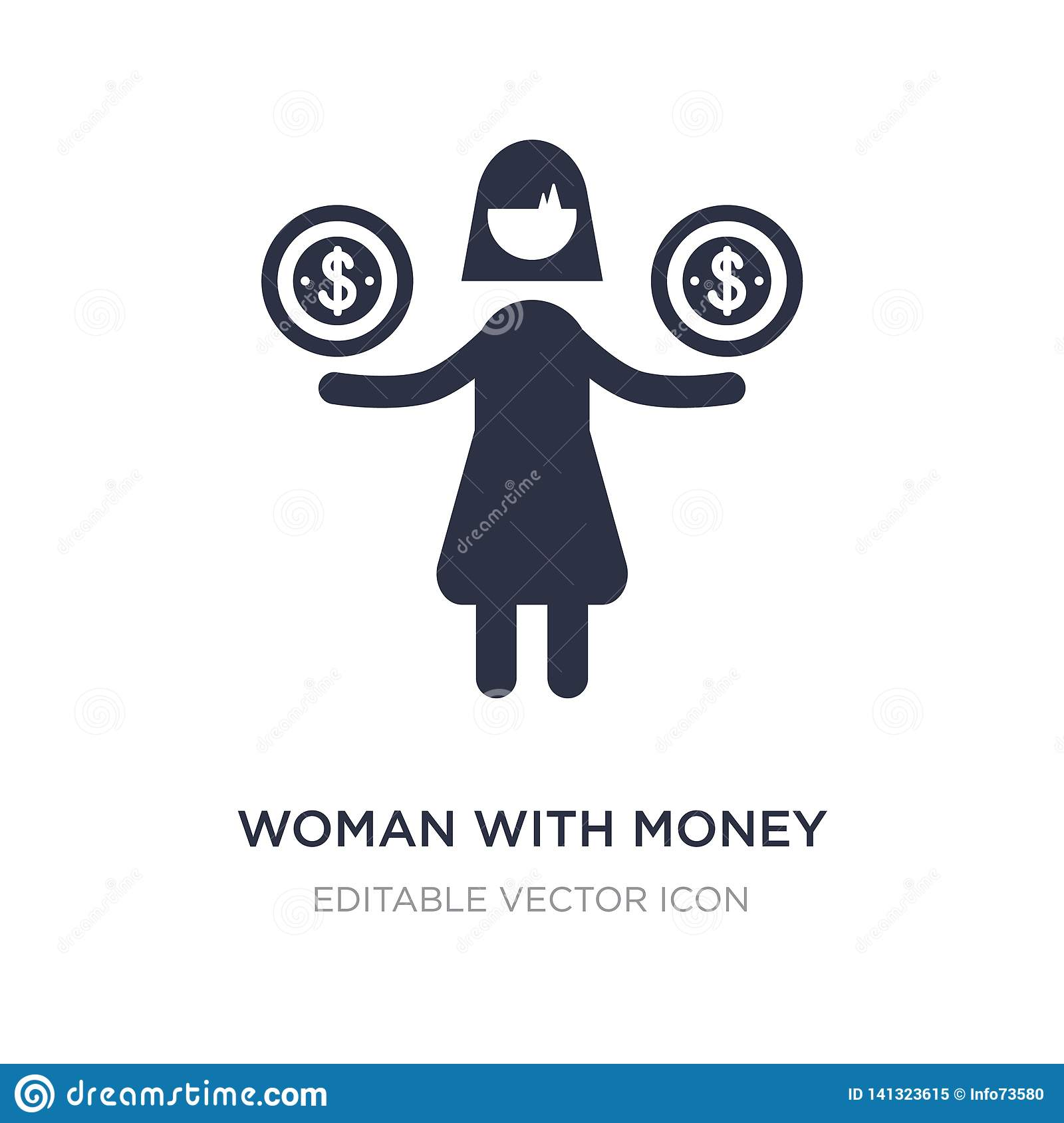woman with money icon on white background. Simple element illustration from Business concept
