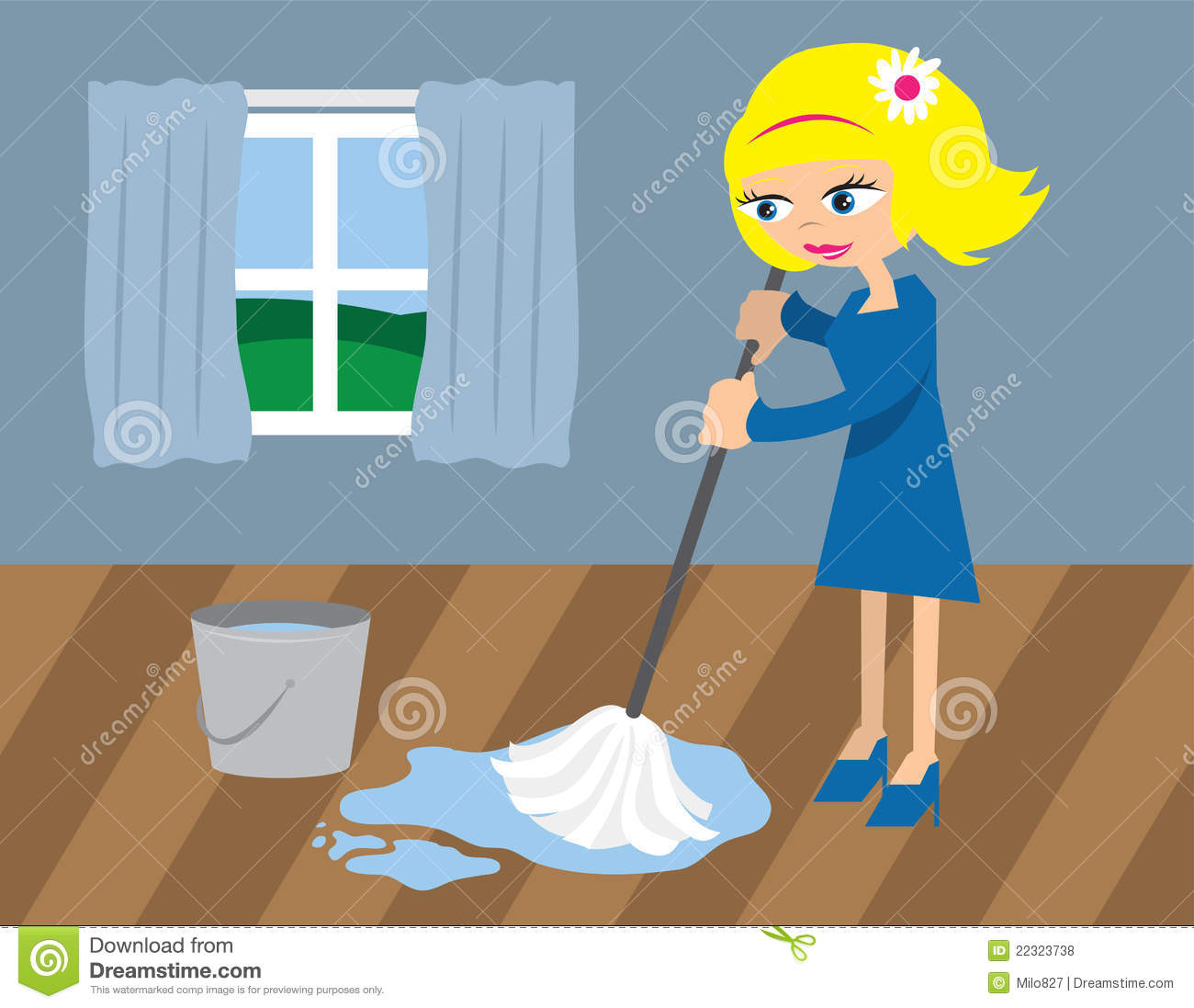 Woman Mopping The Floor Royalty Free Stock Photos - Image: 22323738
