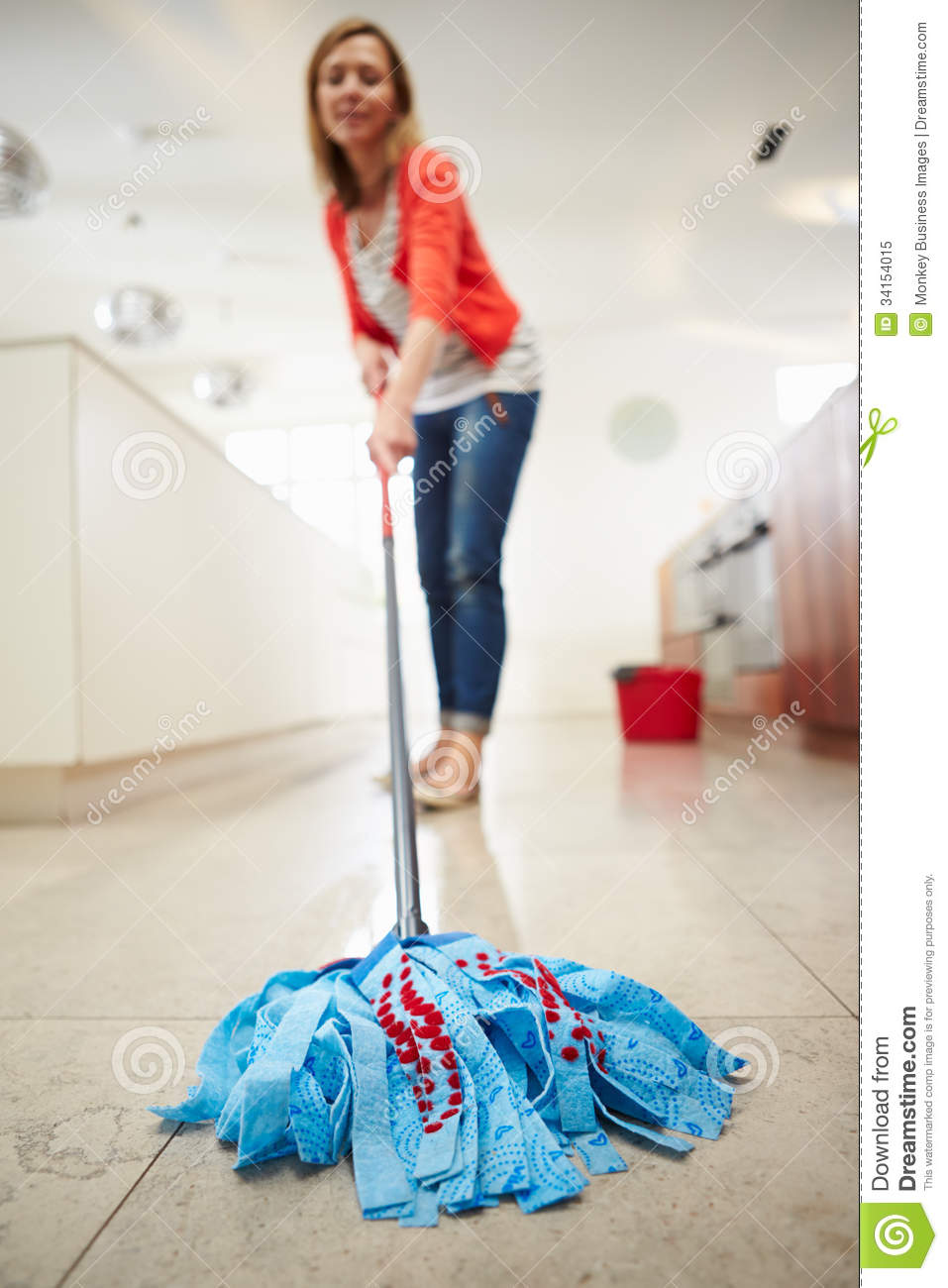 Kitchen Floor Mop Woman Mopping Kitchen Floor Royalty Free Stock Photo Image 34154015