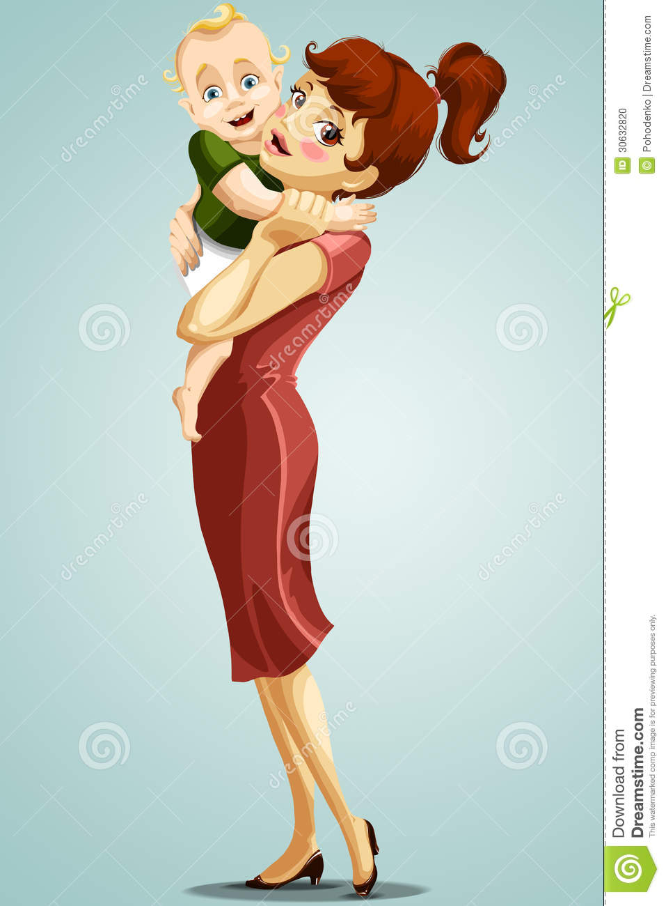Stock Photo: Woman mother child baby character cartoon ...
