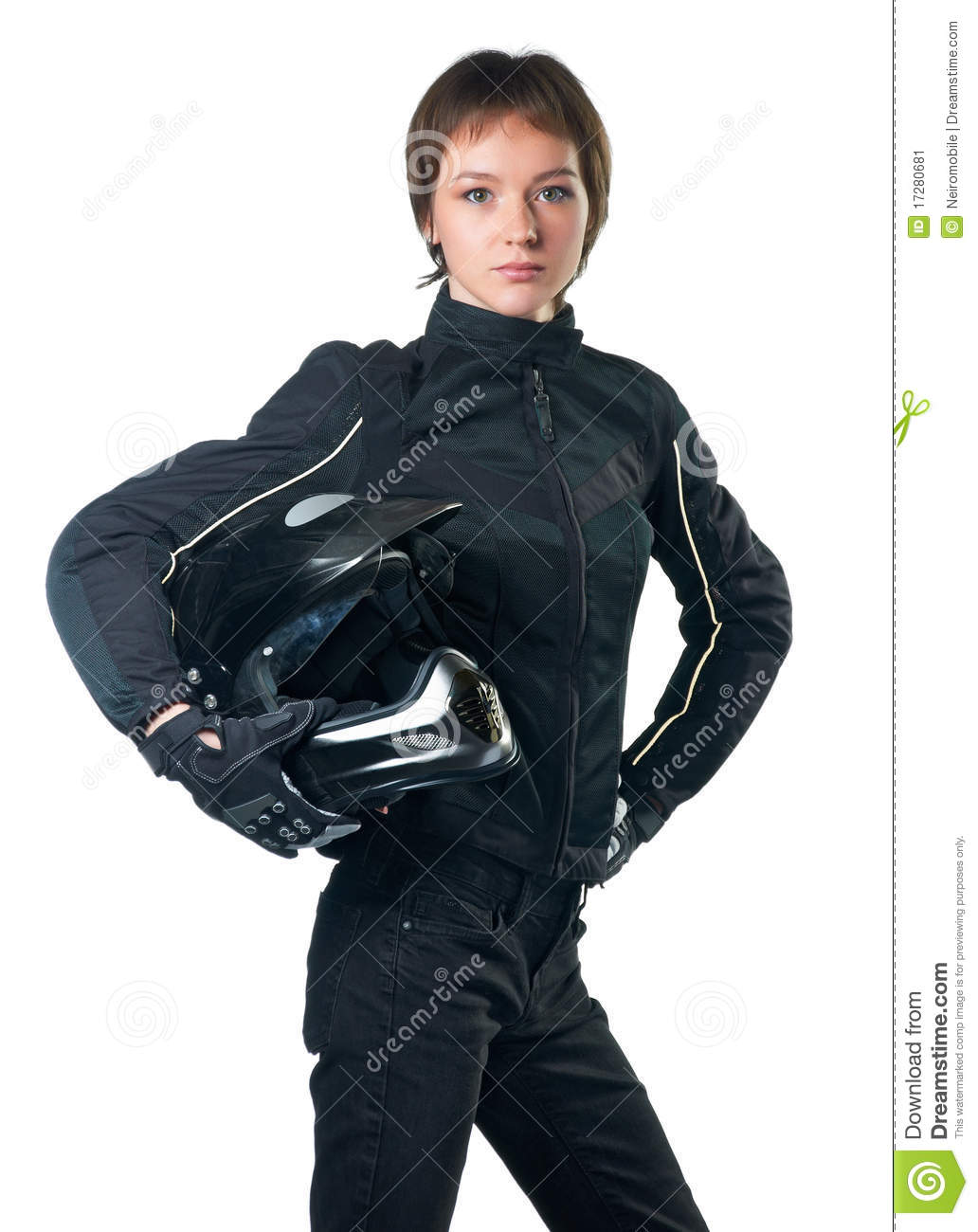 Young woman in black motorcycle clothing holding a helmet. Isolated on