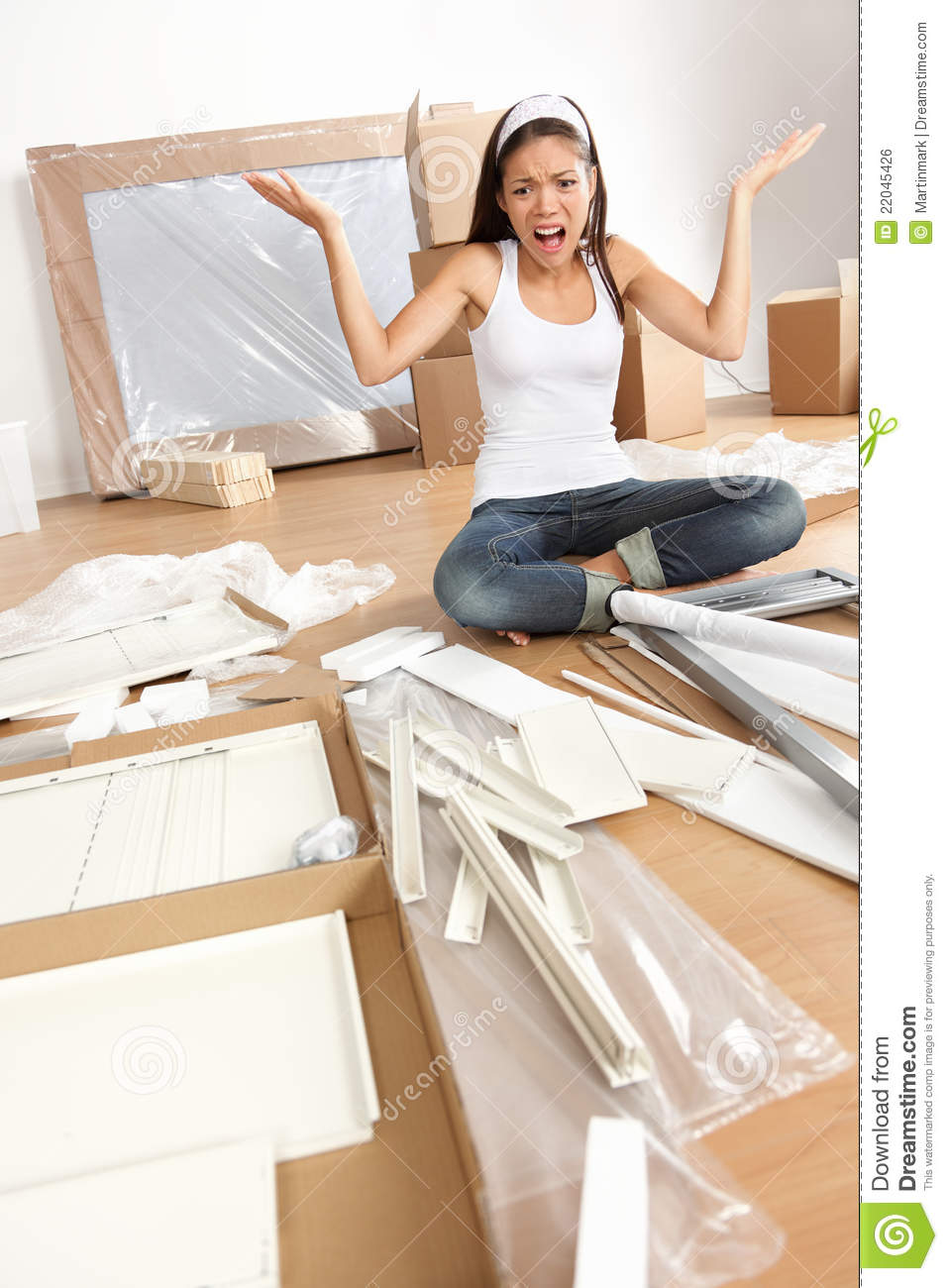 Woman moving in furniture assembly frustration royalty for Someone to assemble ikea furniture