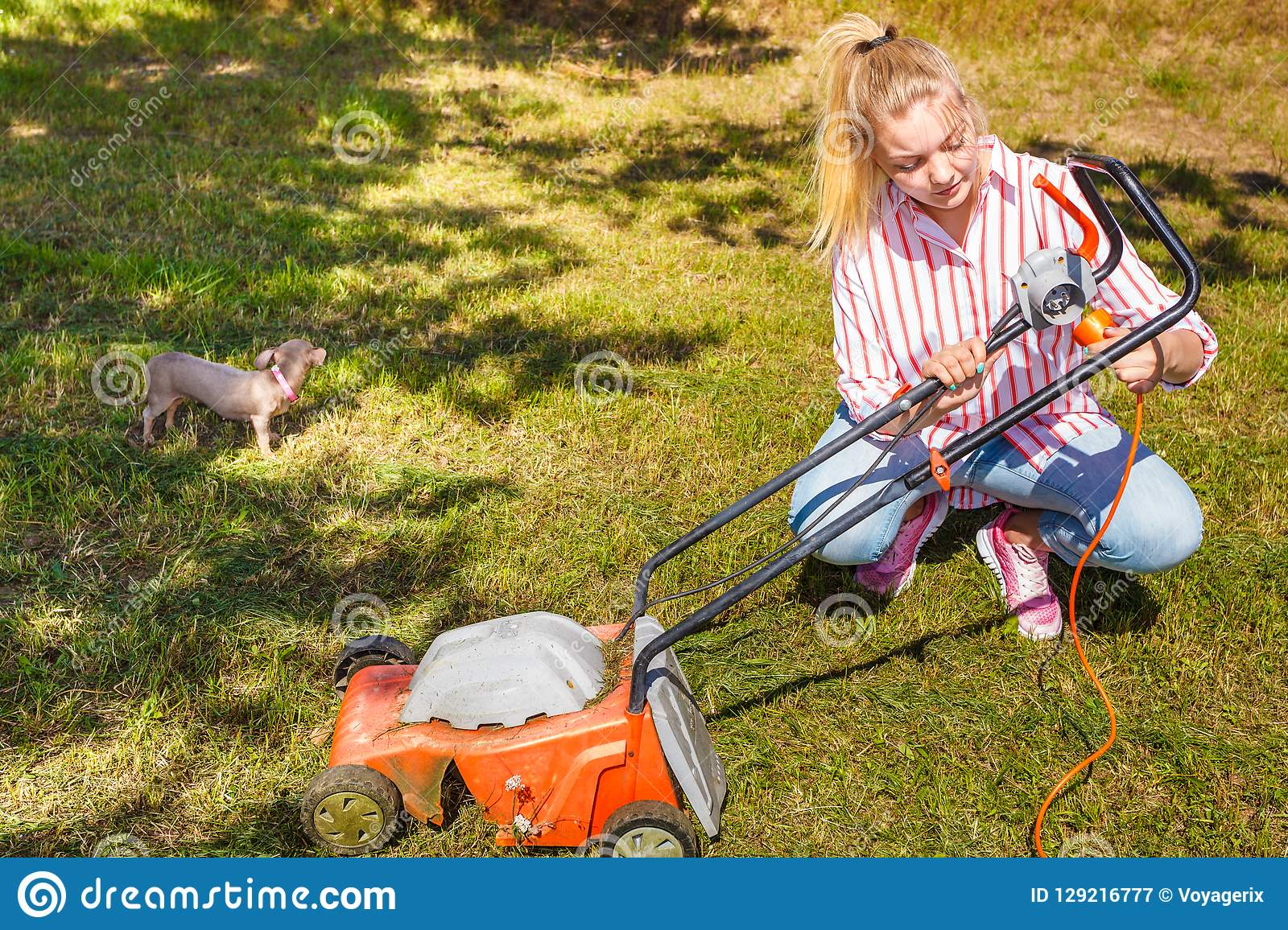 Senior Woman Mowing Lawn - Free Stock Images & Photos