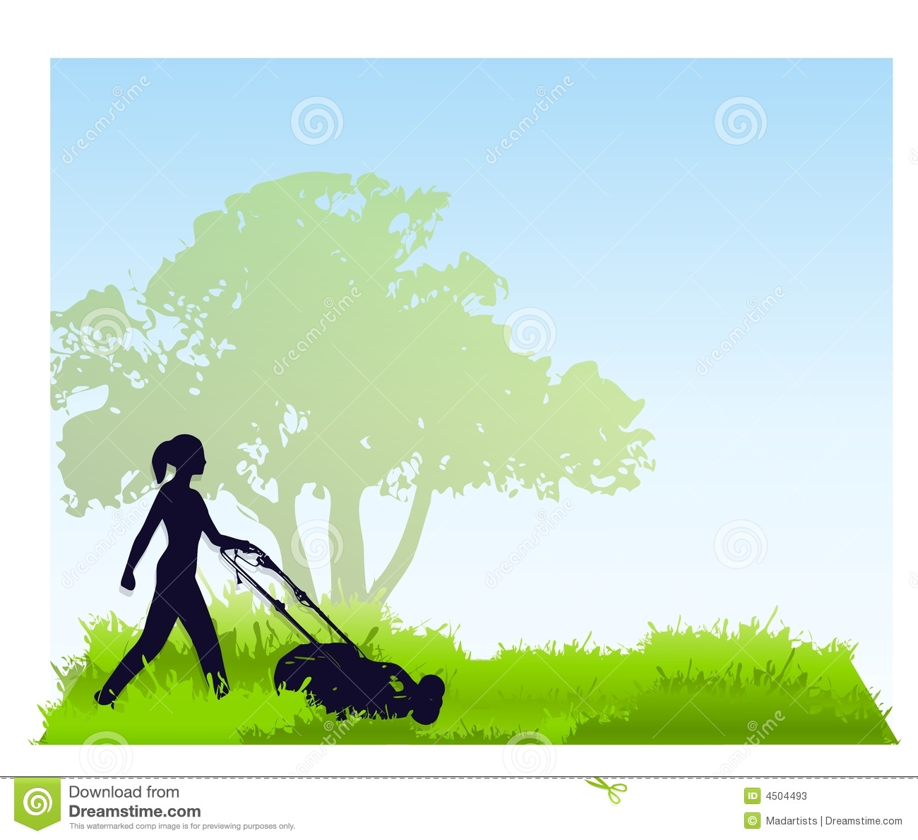 woman mowing the lawn stock illustration illustration of lawn mower clip art lawn mowing clip art free