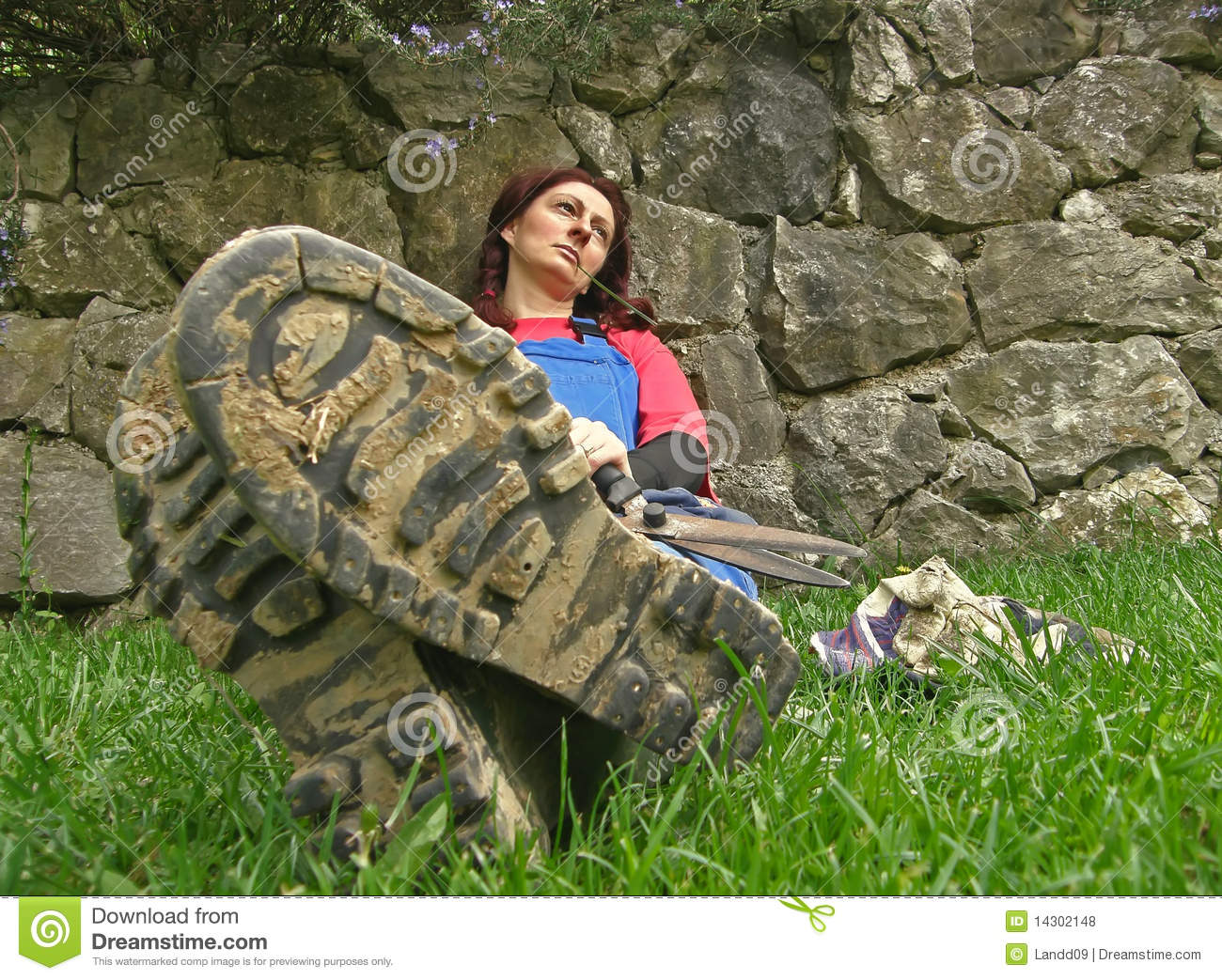 Woman and muddy boots stock photo. Image of face ...