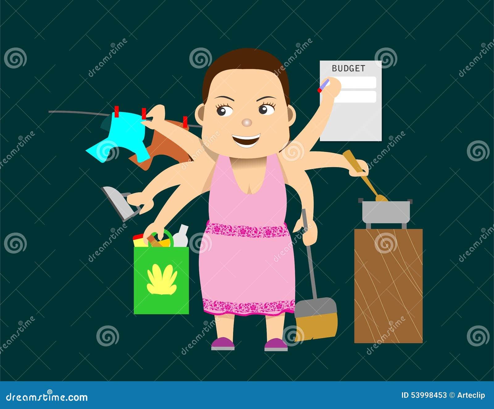 Woman multi tasking