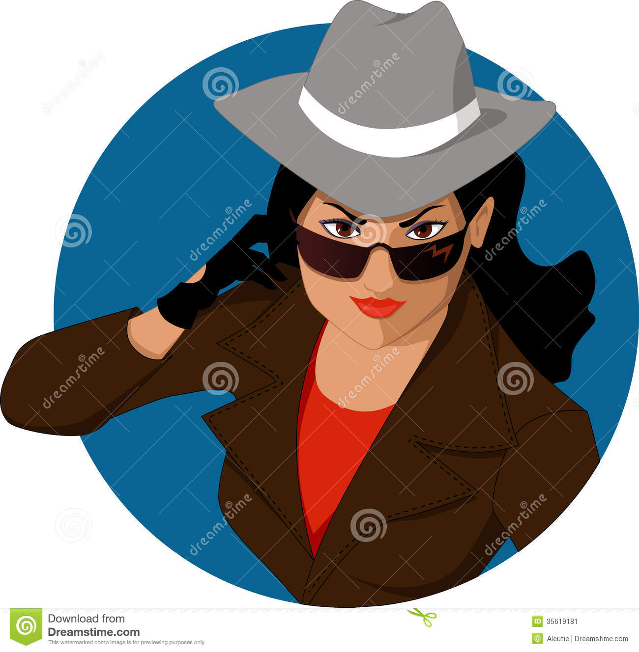 Woman of mystery stock vector. Illustration of brunette ...