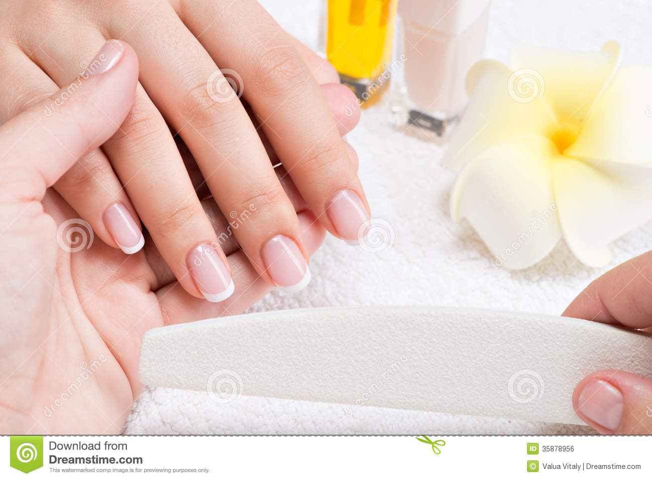 Woman In A Nail Salon Receiving Manicure Stock Photo - Image of hand ...