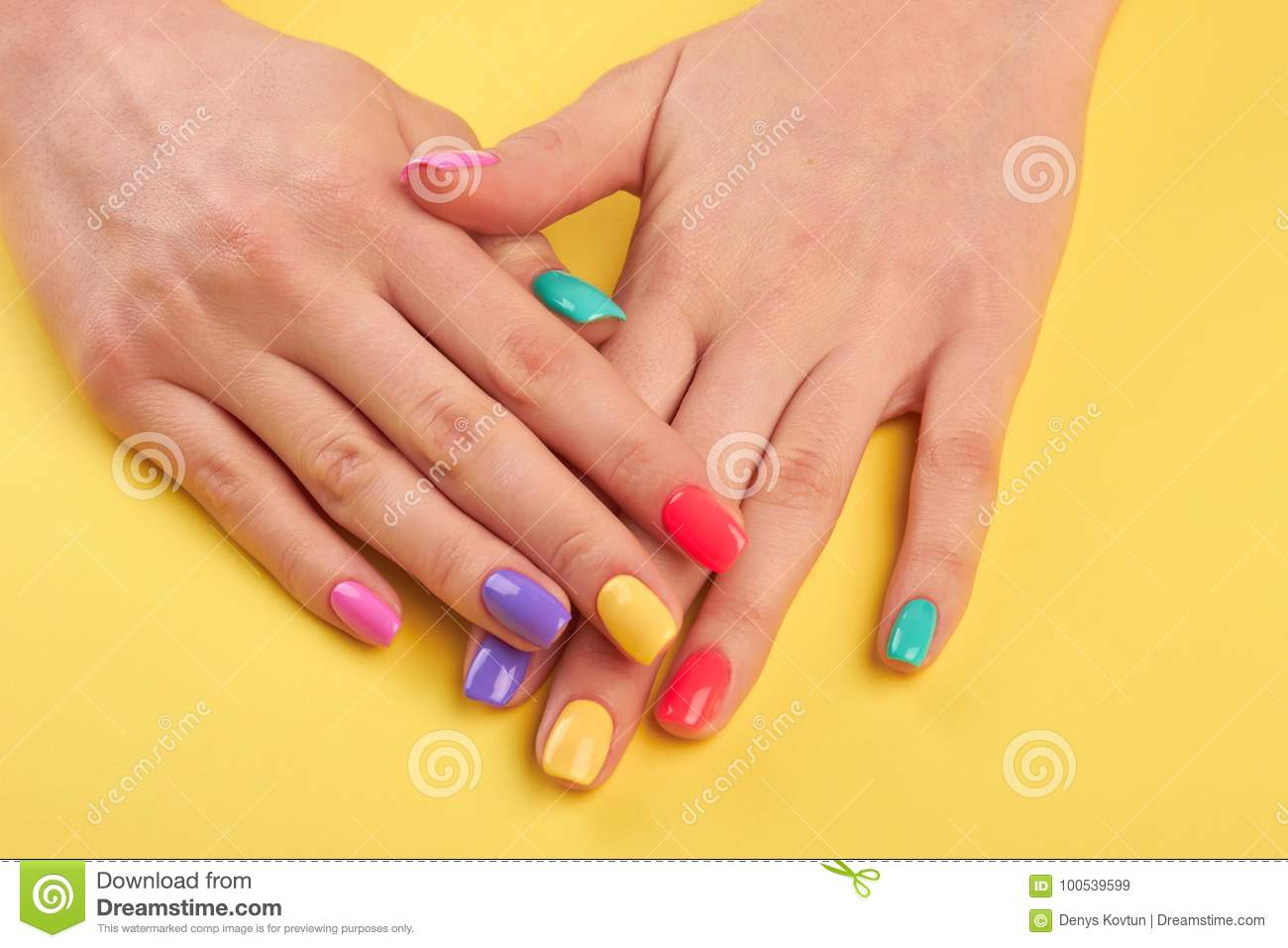 Woman Nails Painted In Different Colors. Stock Image - Image of ...