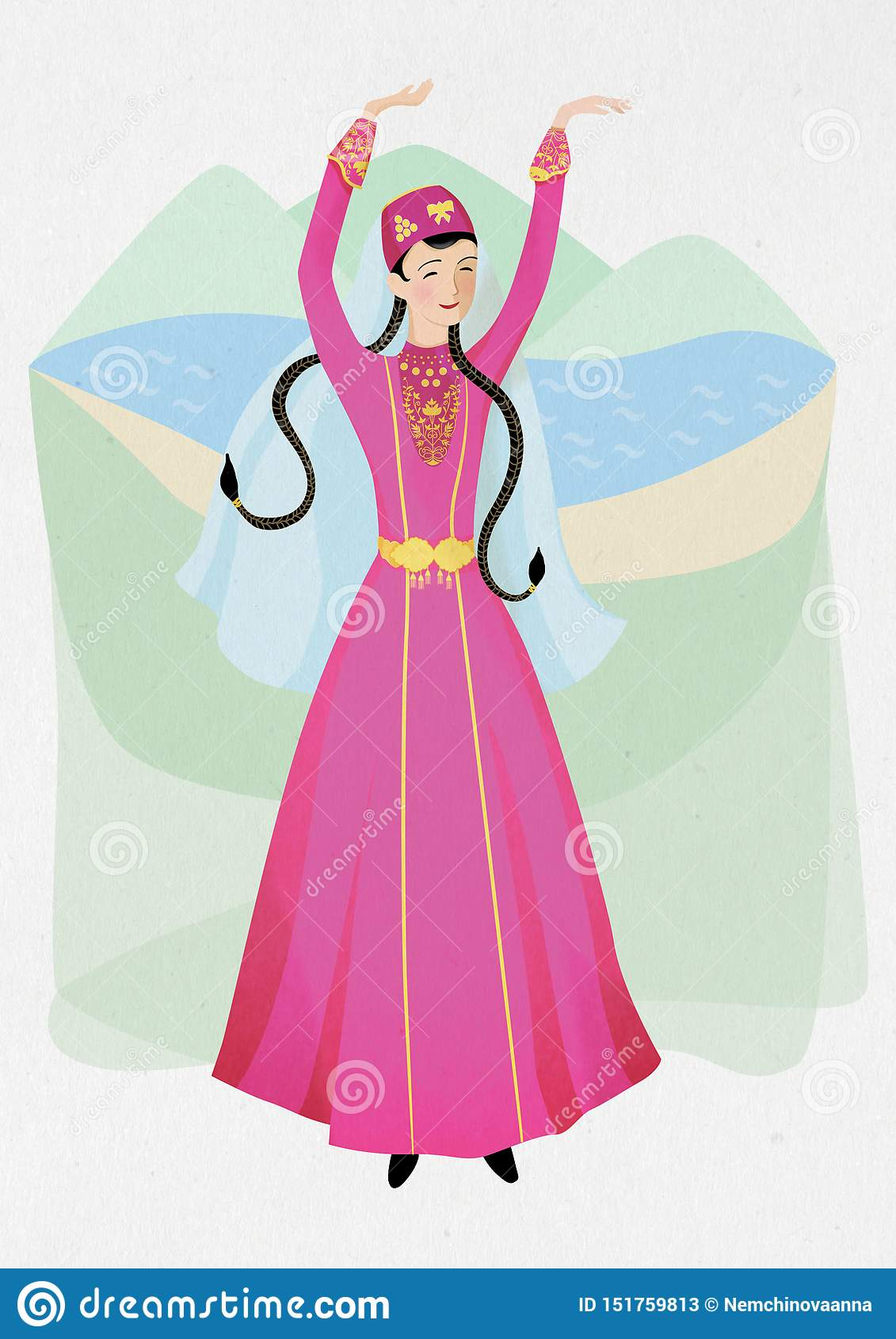 Illustration of woman, national dance of the Crimean tatar in a national folk co