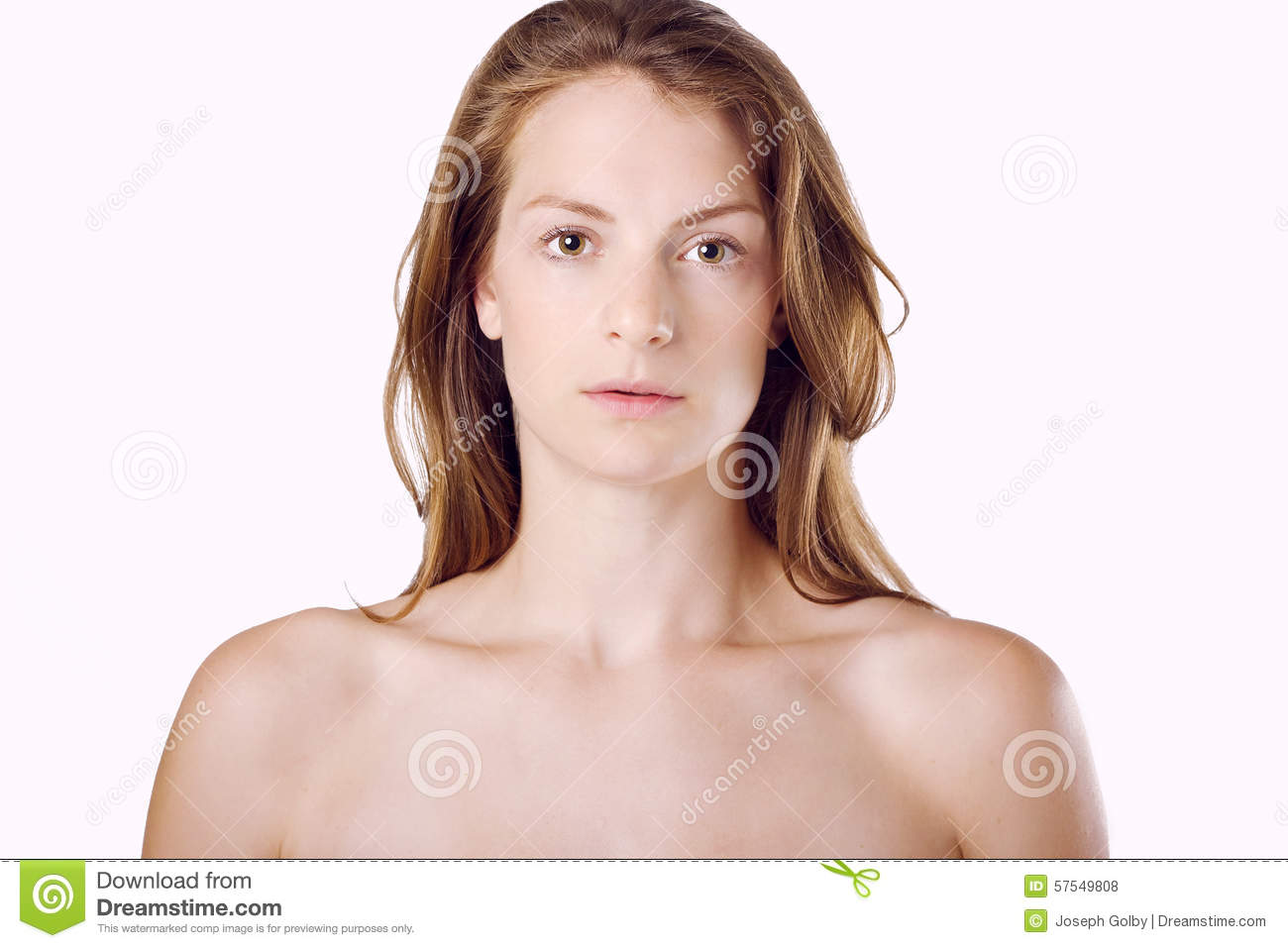 Woman with natural beauty and healthy. Caucasian with brown hair on ...