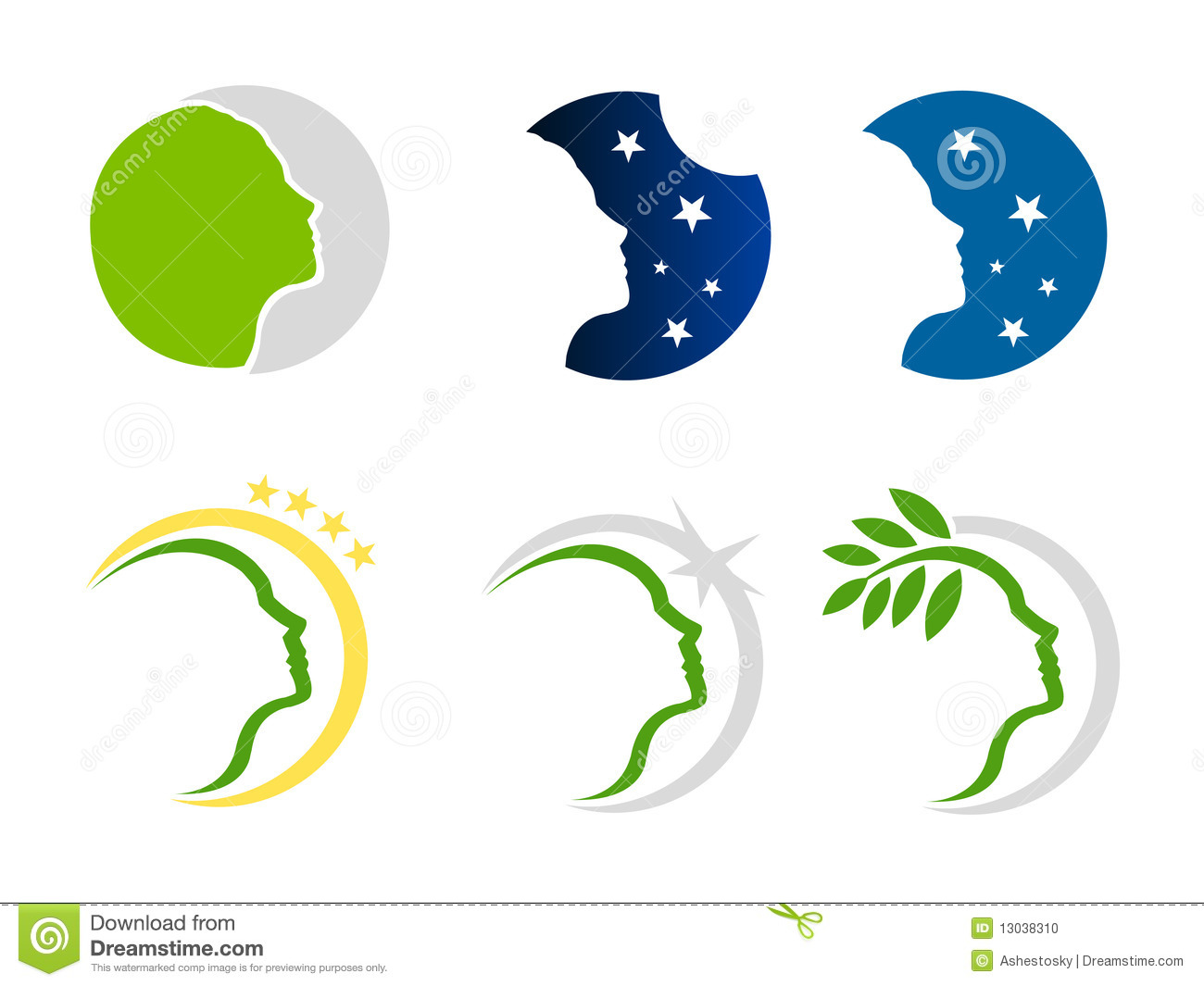 Woman Nature And Stars Logo Stock Photo - Image: 13038310