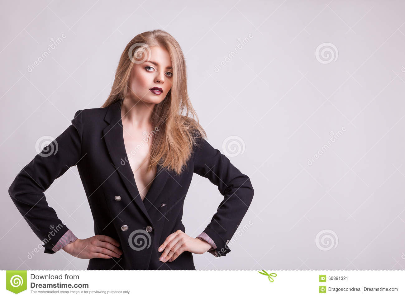 Woman With No Bra In Business Suit Stock Photo
