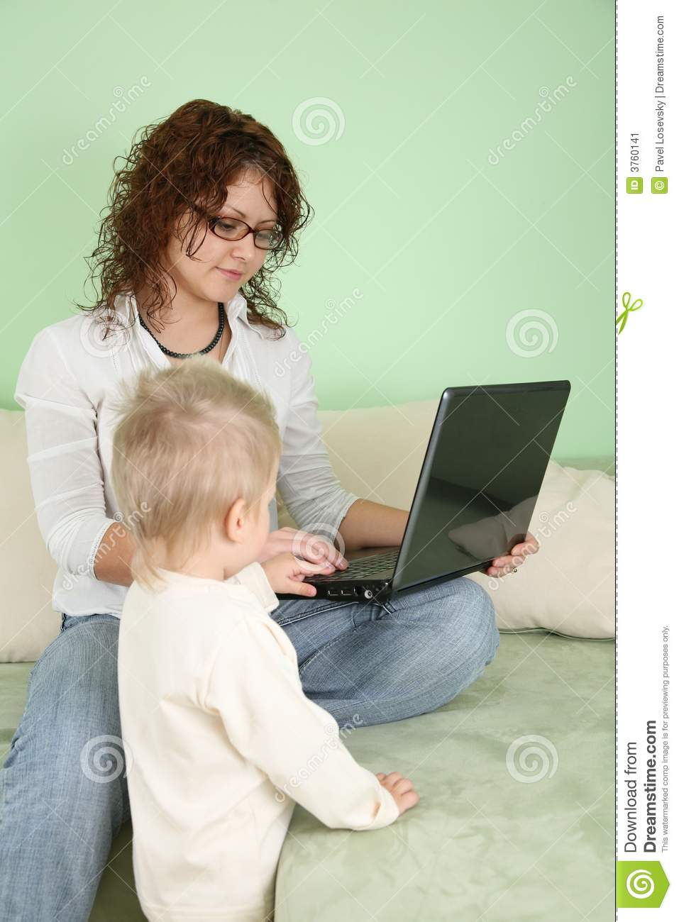 Woman with notebook and child