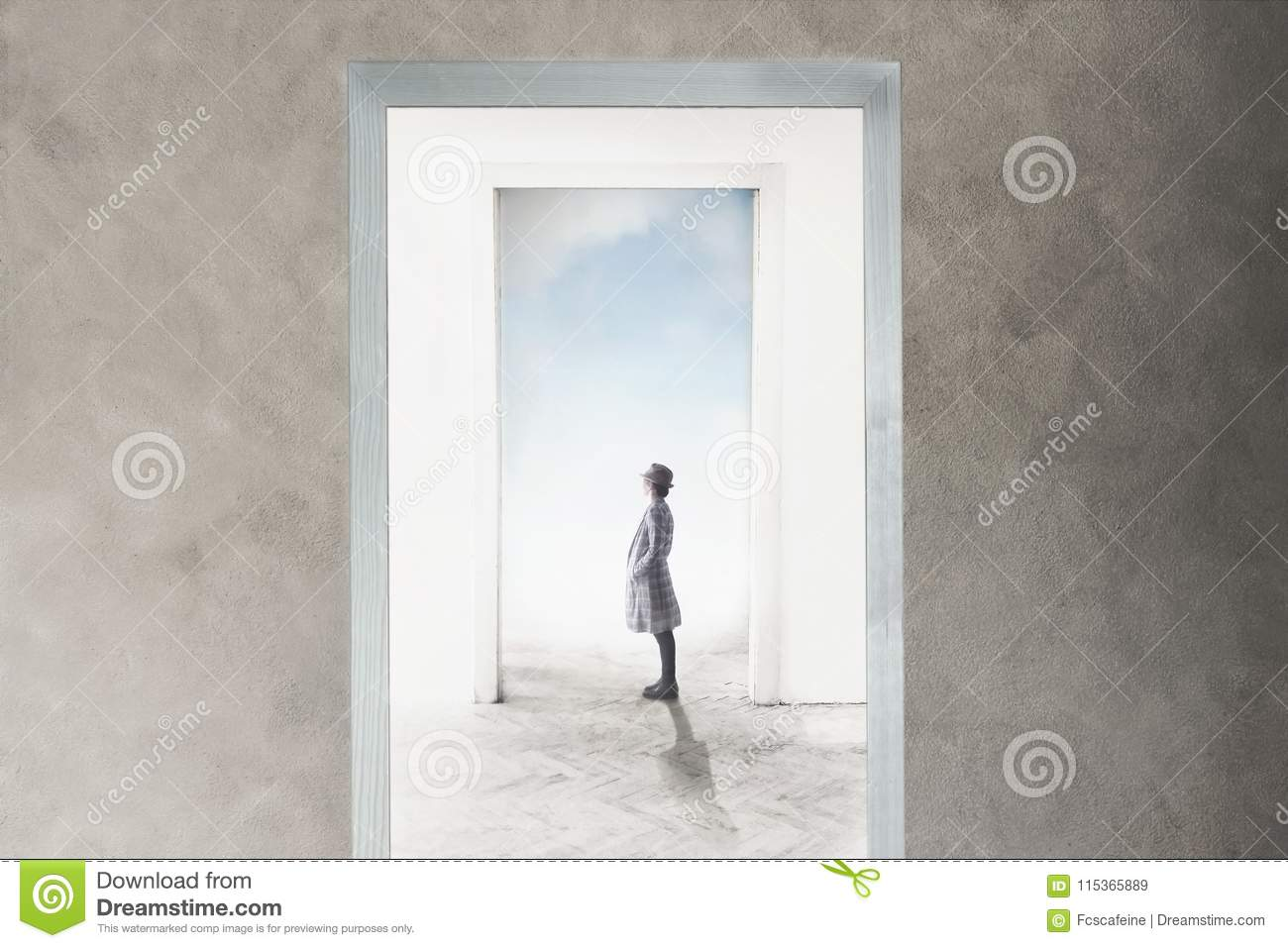 Woman observe curious the door that opens towards freedom and dreams