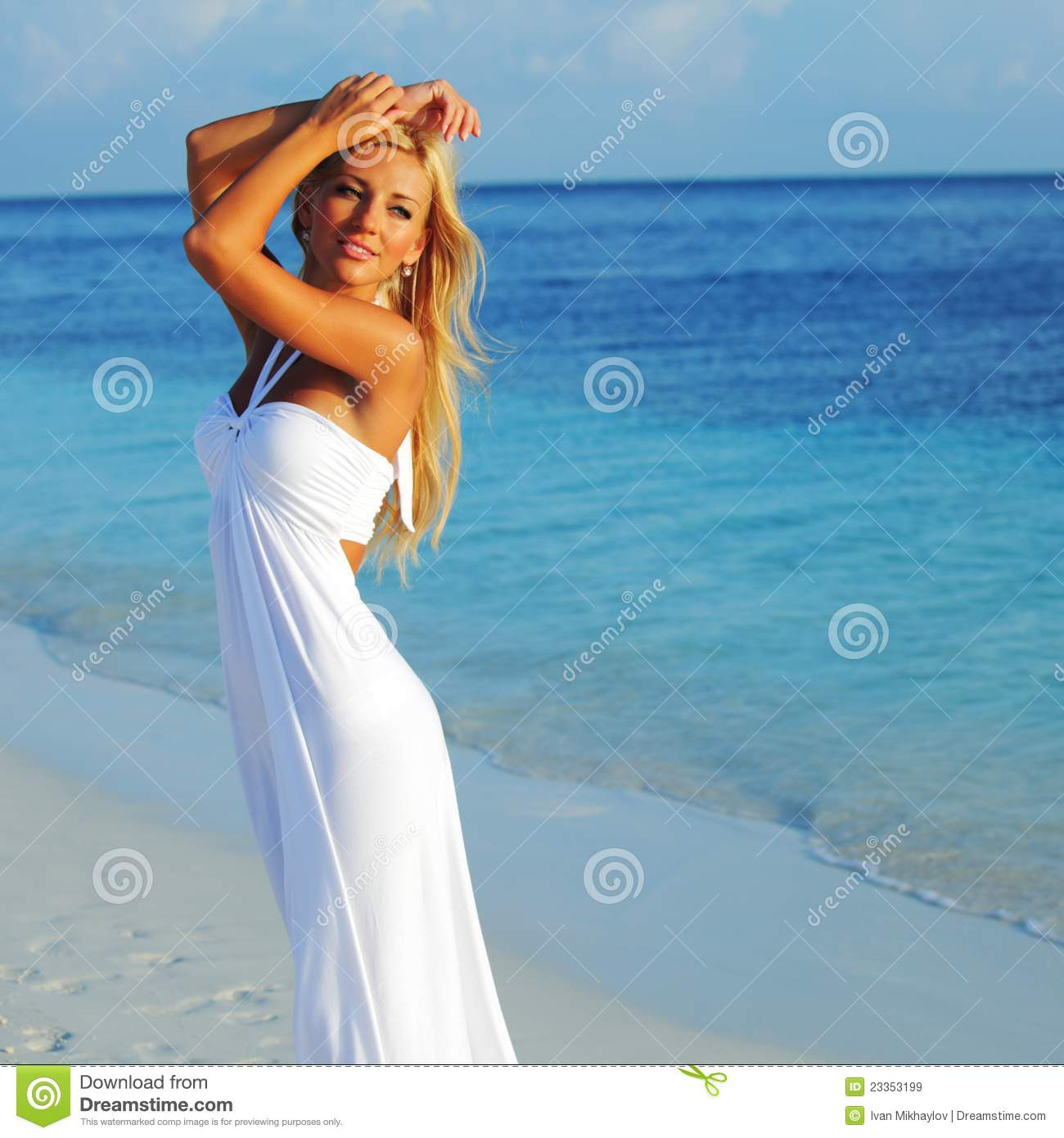 Woman On The Ocean Coast Stock Image. Image Of Body, Make