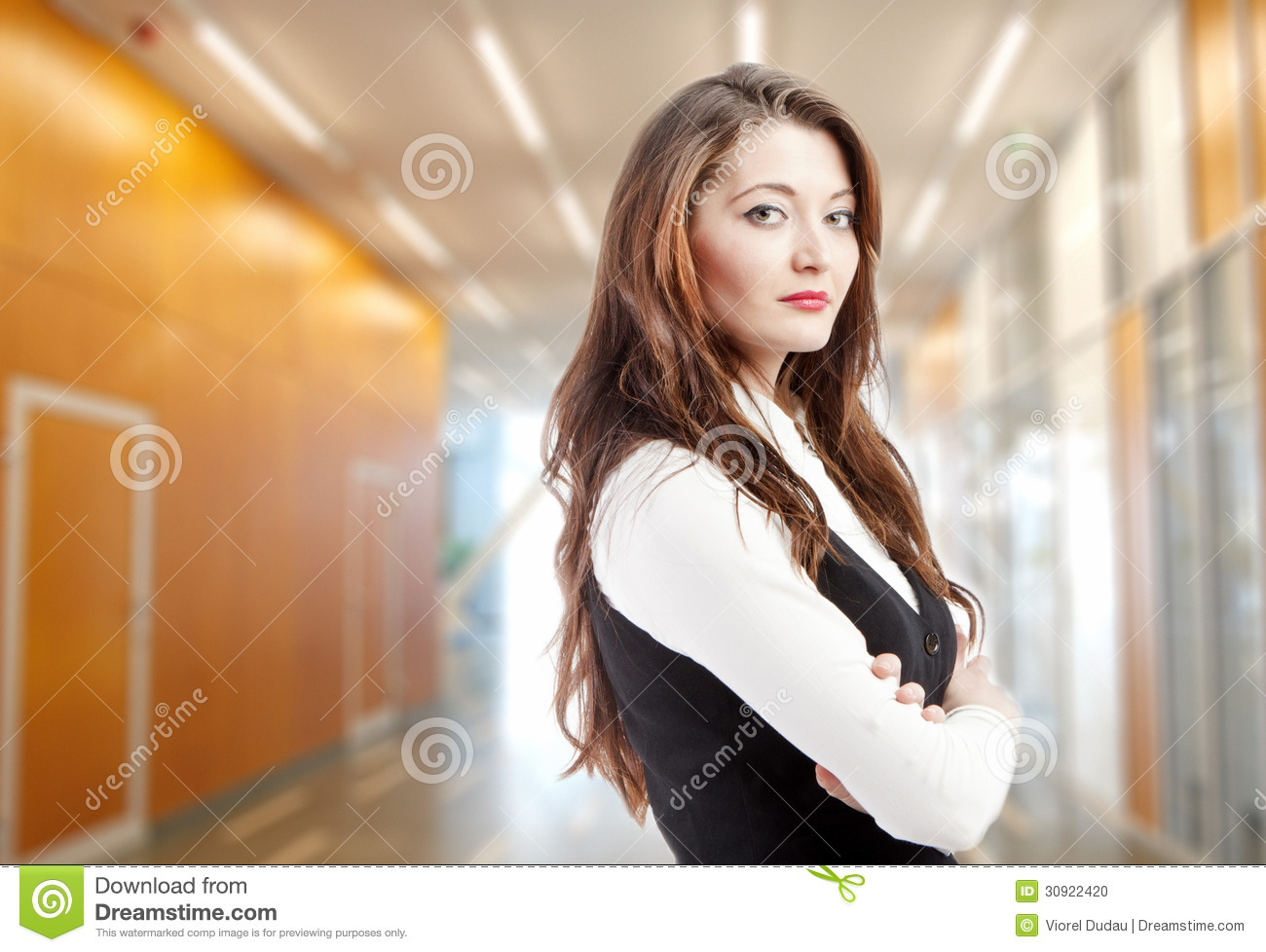 Woman in office building