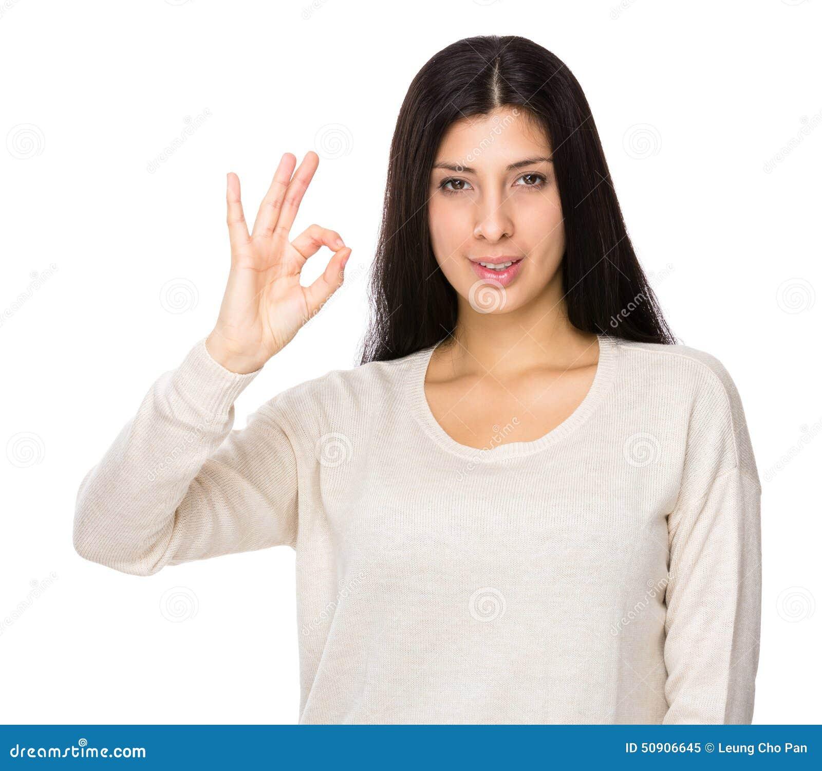 Cute Hispanic Girl Giving The OK Sign Stock Photo - Image