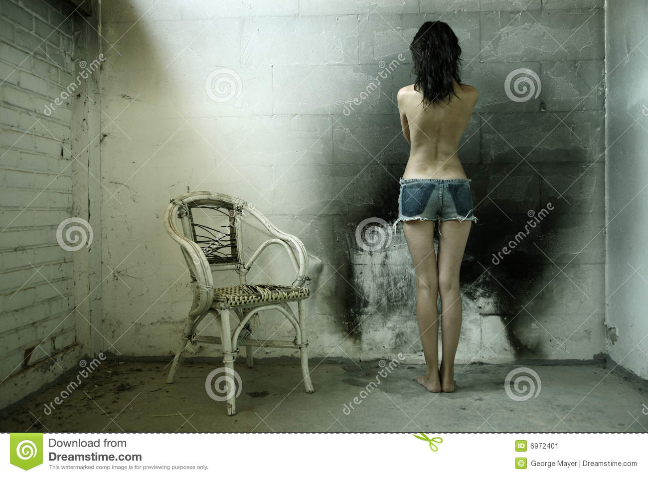 Woman with old chair