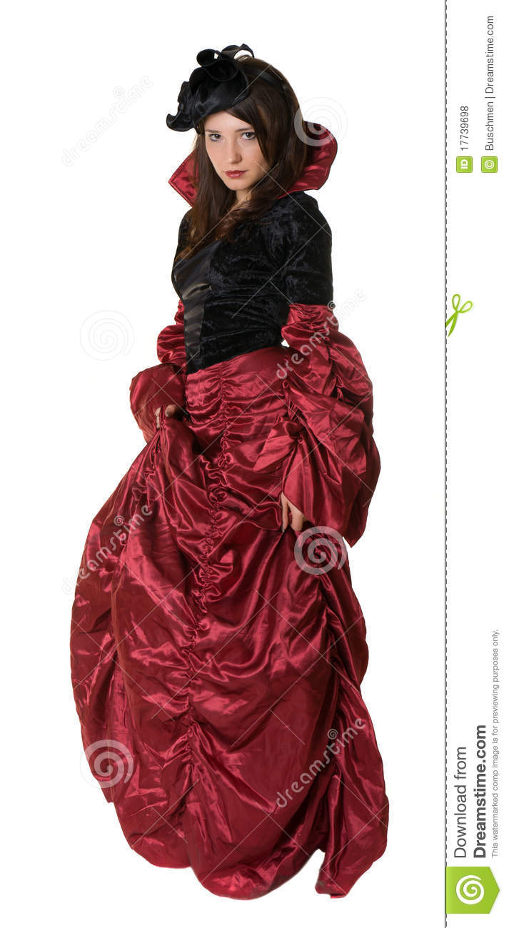 A Woman With An Old Fashioned Dress Royalty Free Stock