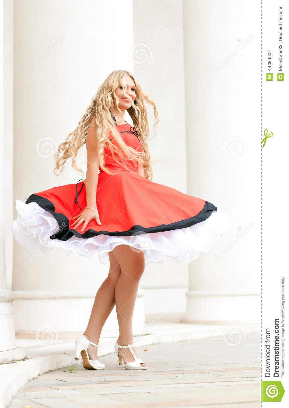 Woman In Old Fashioned Dress Stock Photo Image Of Merry