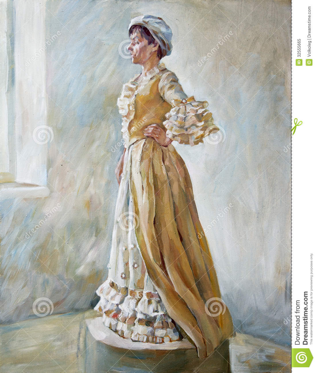 Woman In Old Fashioned Dress Standing Oil Illustration