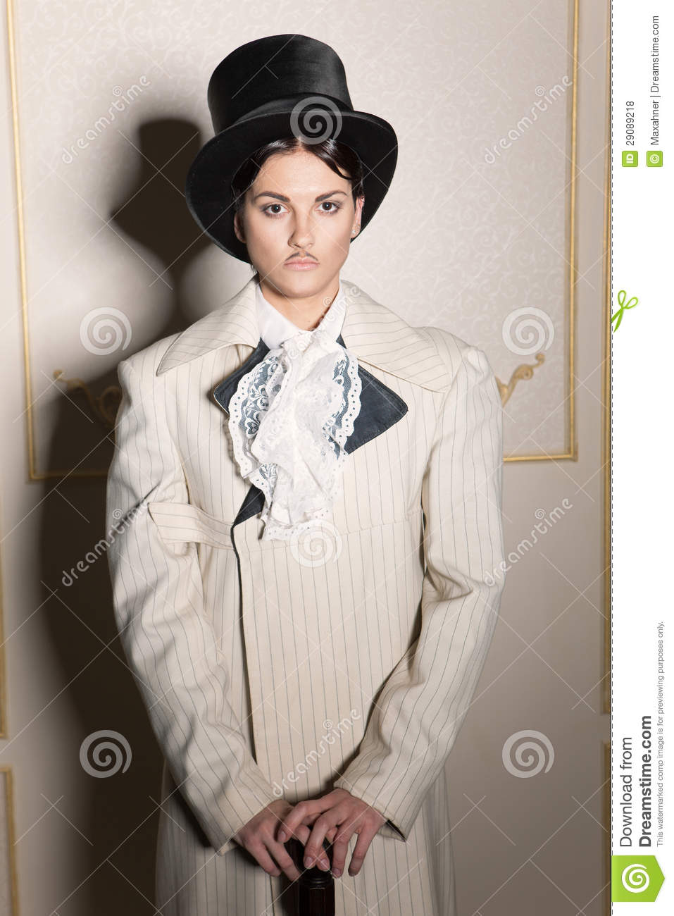 Woman In Old Fashioned Men 39 S Clothing Stock Photo Image 29089218