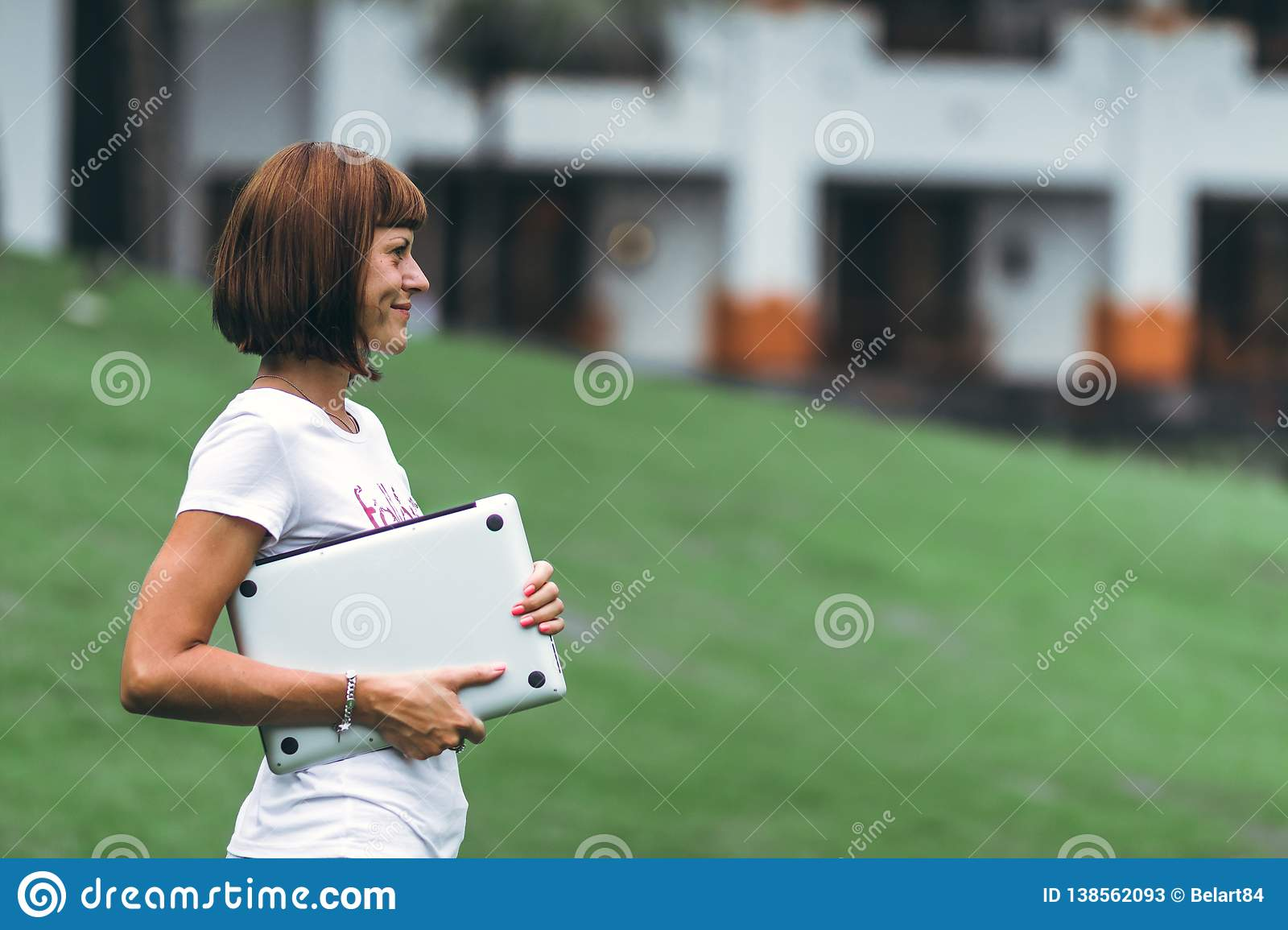 Woman Online Shopping Concept Woman In The Green Park With