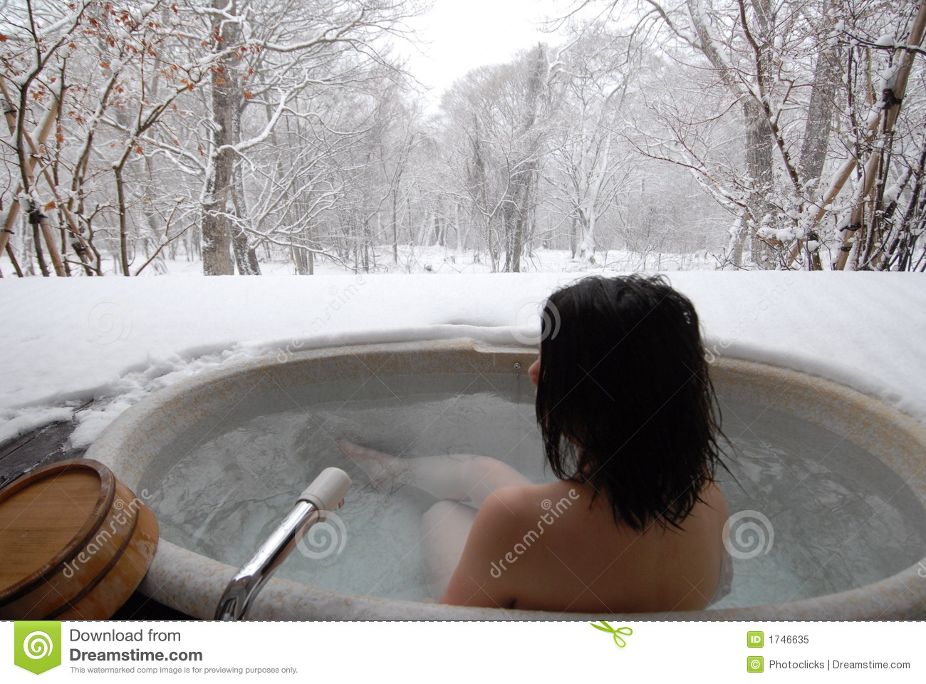 Woman in open air bath stock image. Image of relax, intimacy - 1746635