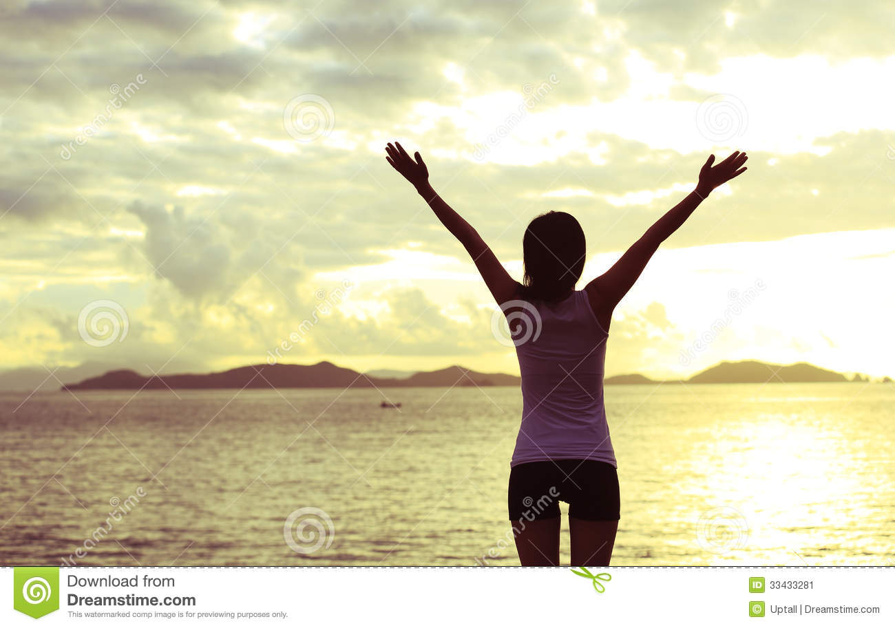 Woman Open Arms To Sunrise Stock Image Image 33433281