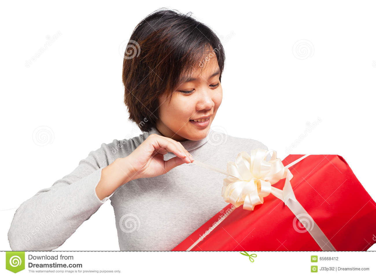 Woman Opening Gift Box With Smile Face Stock Photo - Image ...