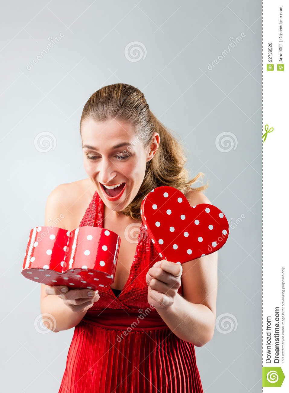 Woman Opening The Gift And Is Happy Stock Photo - Image of ...