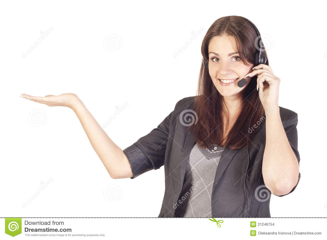 Woman operator with headset presenting your produc