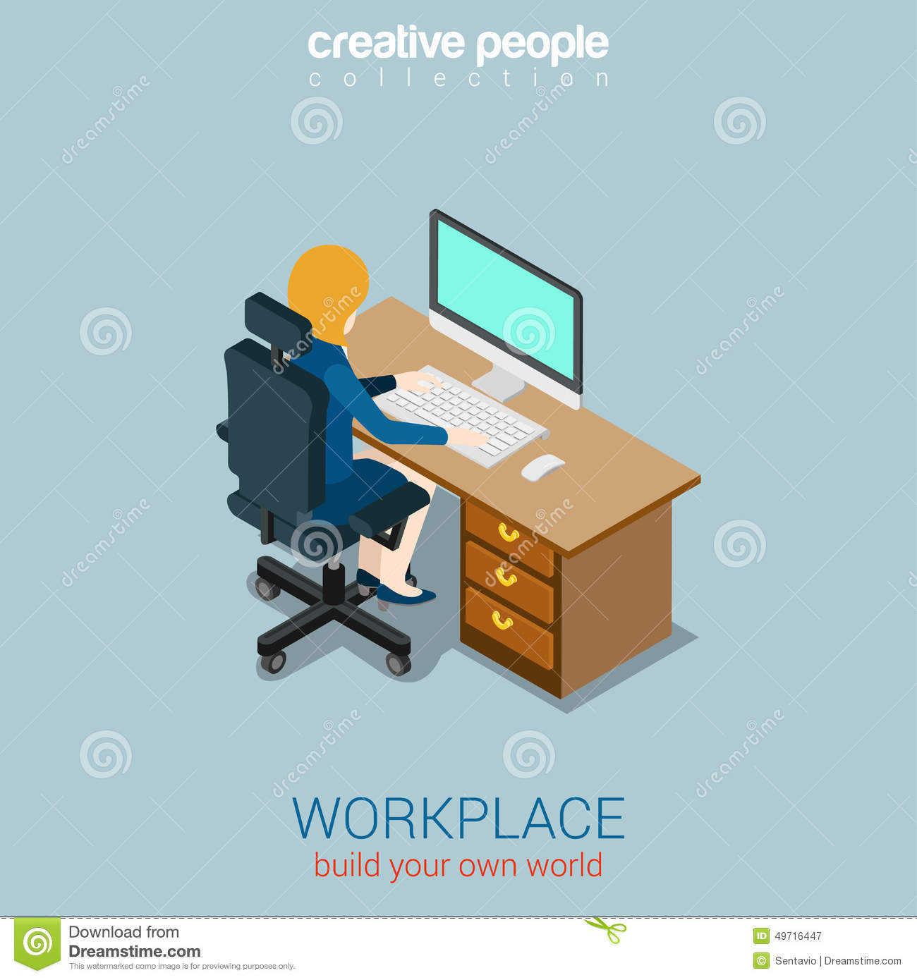 Woman operator manager workplace flat 3d web isometric - Create your world ...