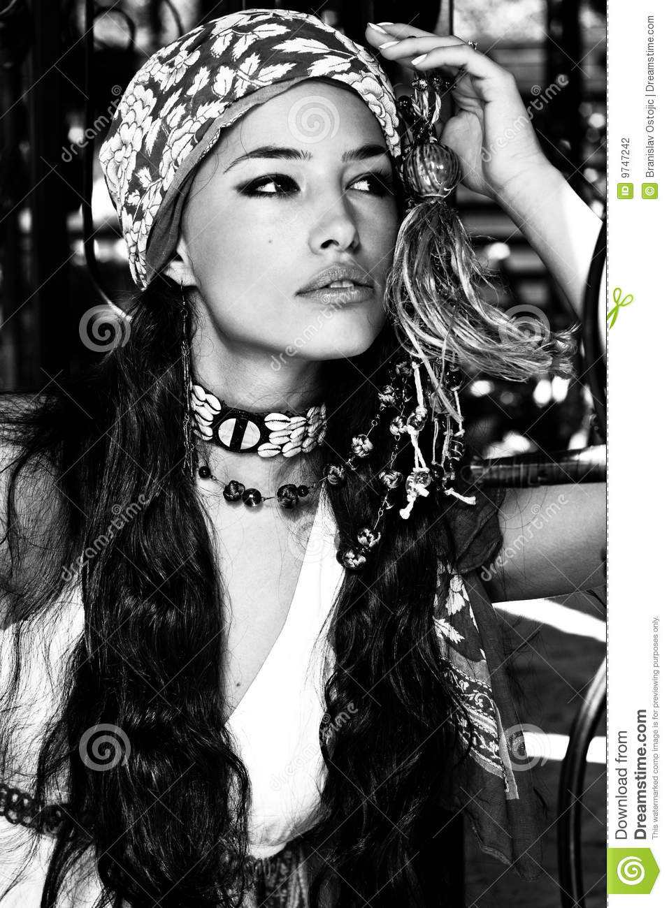 Woman in oriental clothes black and white