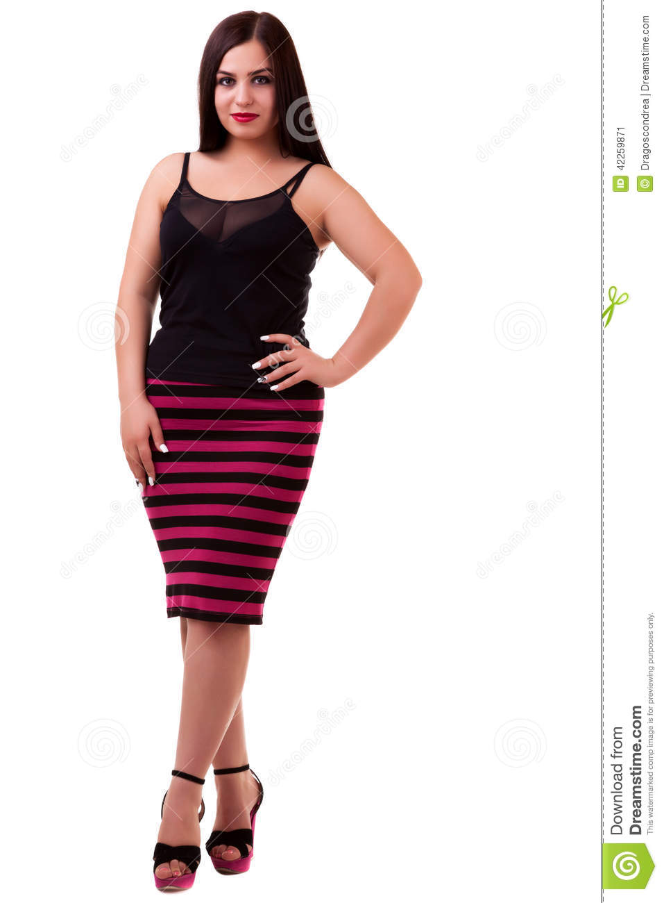 Woman Over White Background Full Body Stock Photo - Image ...