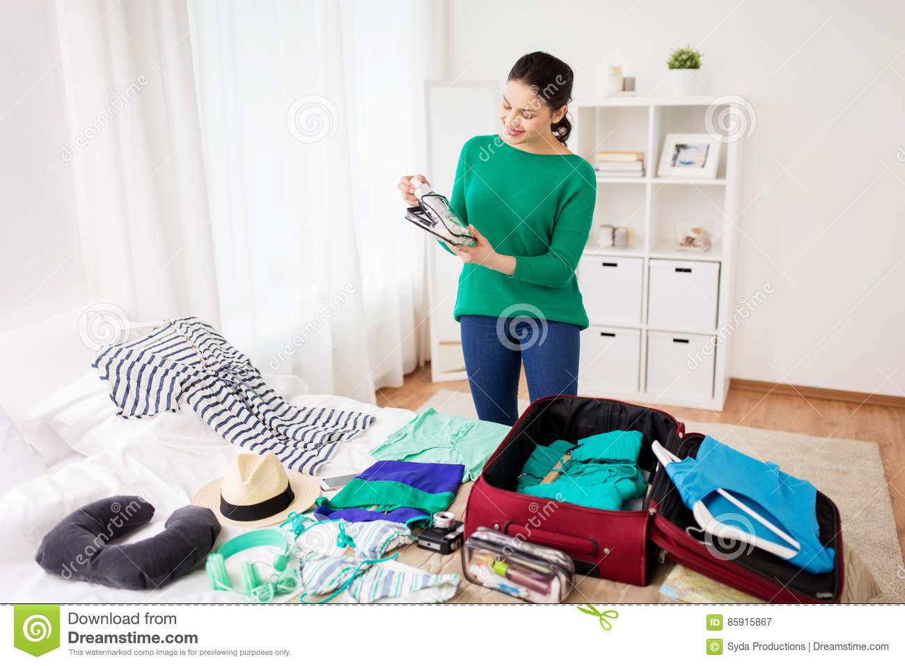 Woman Packing Travel Bag At Home Or Hotel Room Stock Image Vacum Tourism People And Luggage Concept Happy Young