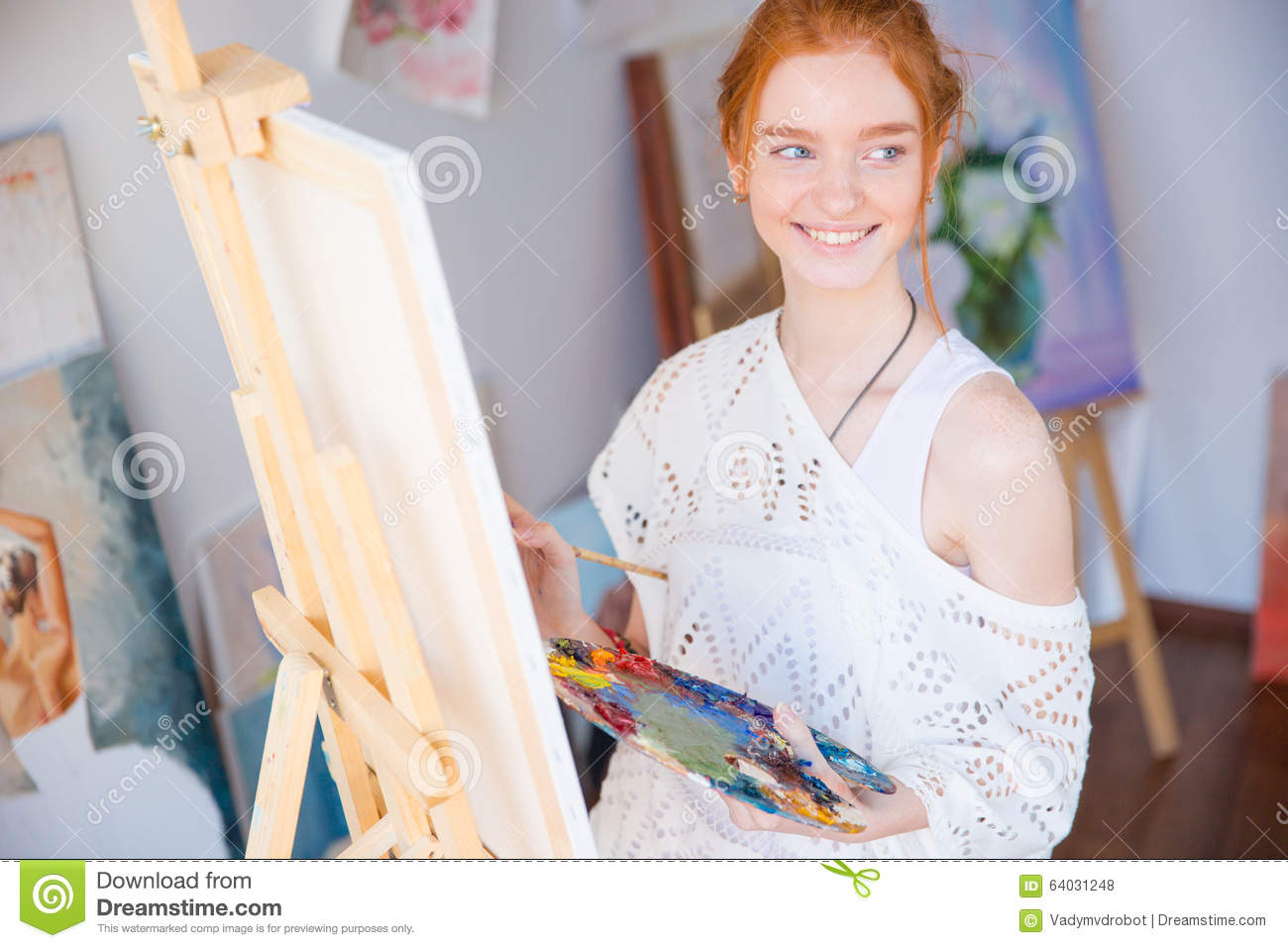 Download Woman Painter Holding Palette With Oil Paints In Art Studio Stock Photo - Image of class, hobby: 64031248