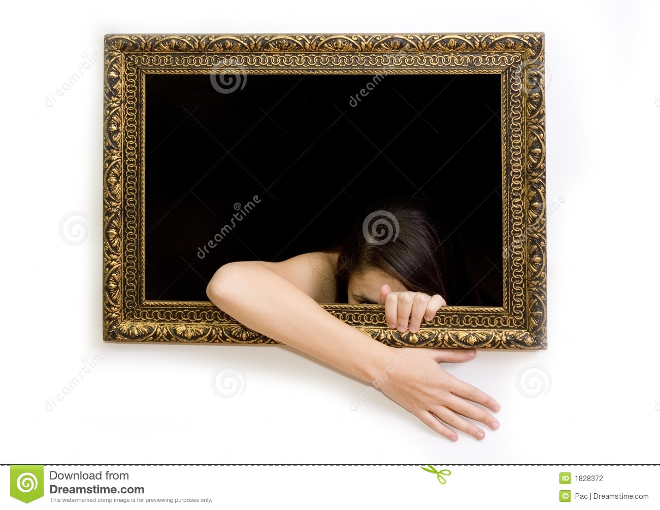 Woman in a painting frame stock photo. Image of caught - 1828372