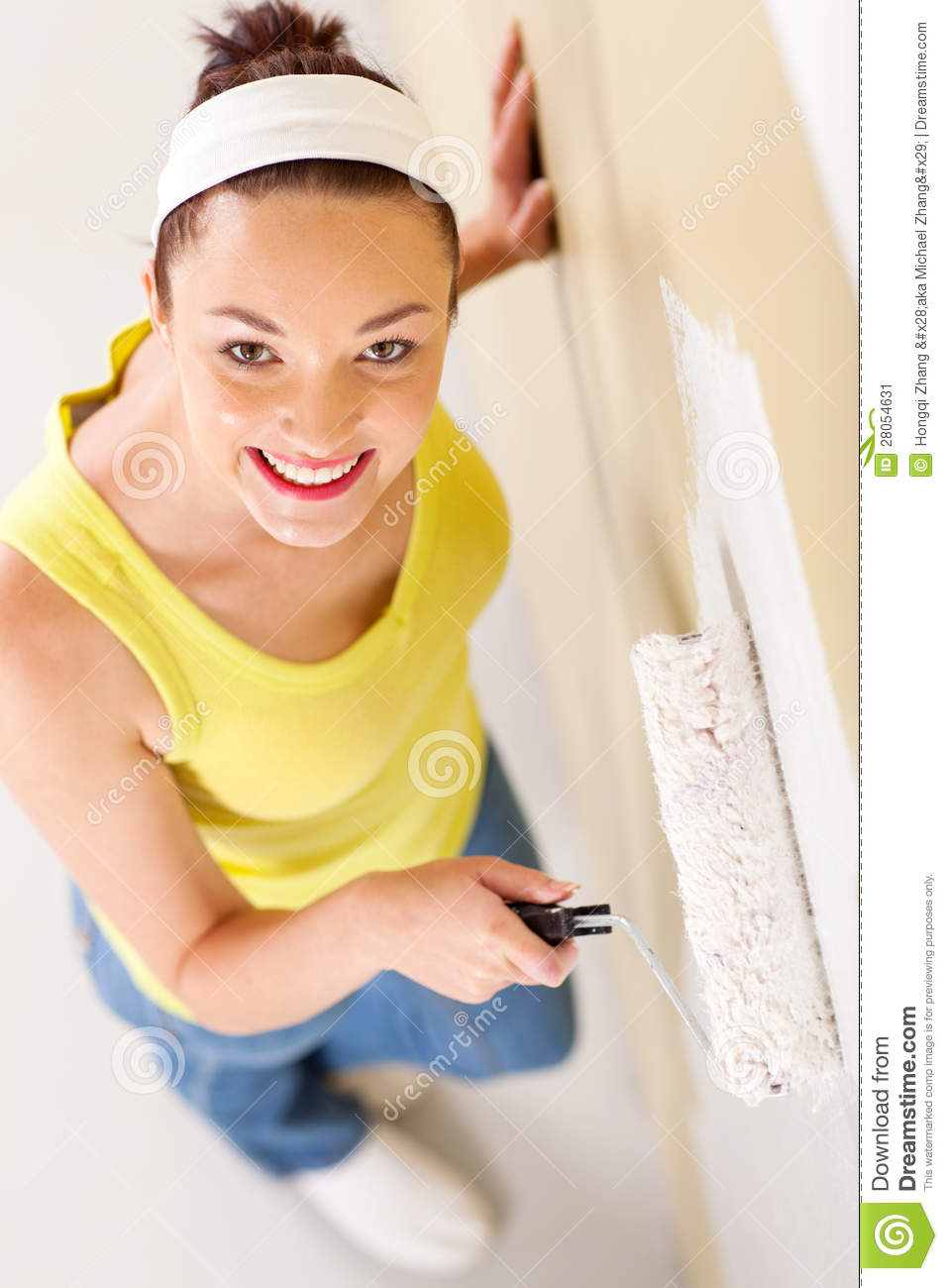 One Woman Painting High-Res Stock Photo - Getty Images