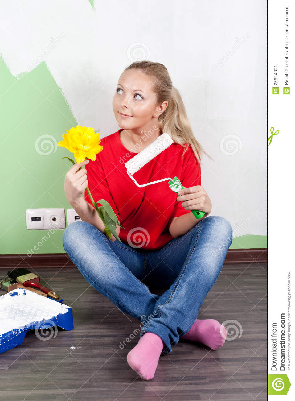 Young Woman With Painting Smiling Portrait High-Res Stock