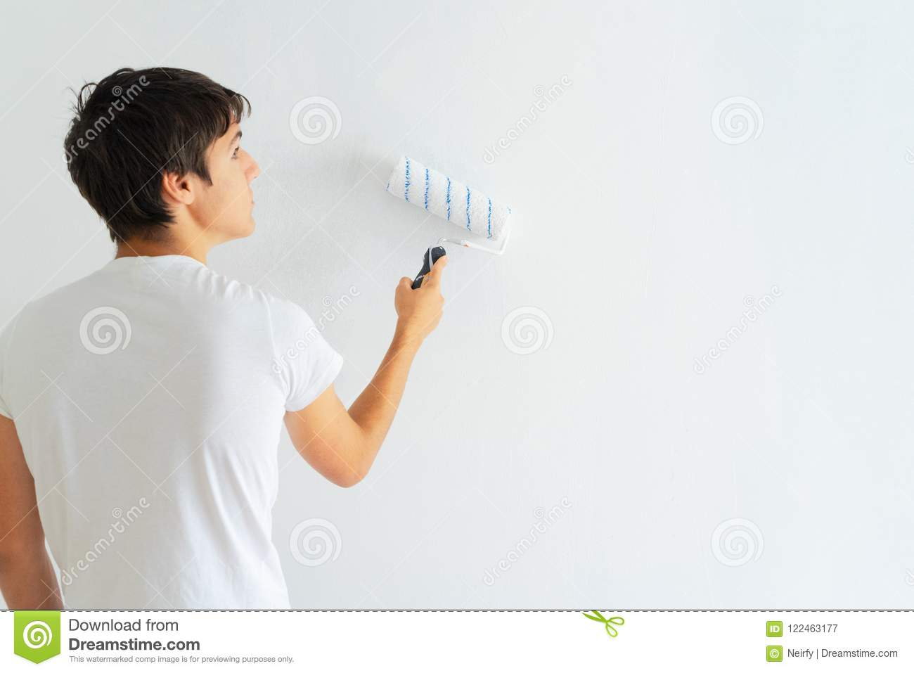Woman Painting Wall Stock Image Of Interior Happy 122463177 Pics Photos Do It Yourself Electrician Young Man Her House Home Renovation Concept