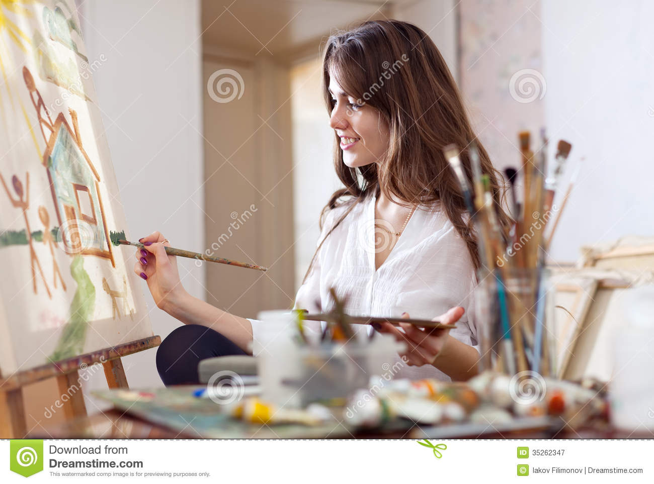 Woman Paints On Canvas Royalty Free Stock Photography ...