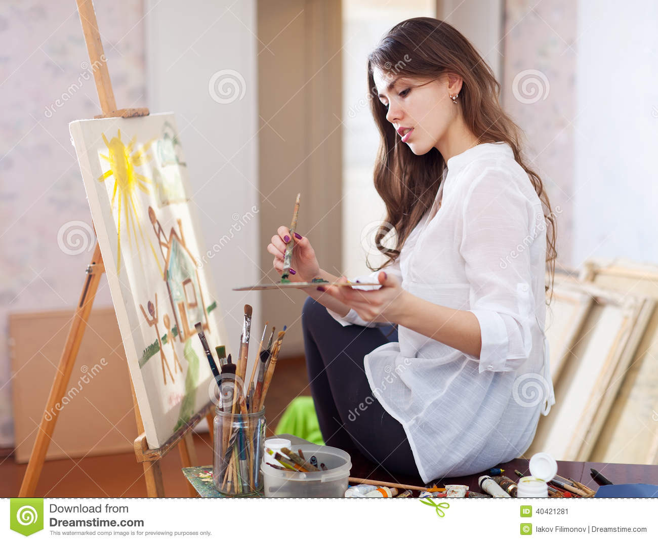 Woman Paints With Oil Colors On Easel Stock Illustration ...