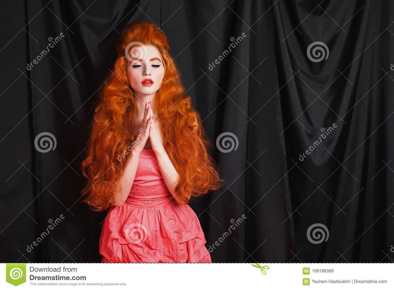 Charming Girl With Red Hair Stock Image Image Of Black Believe